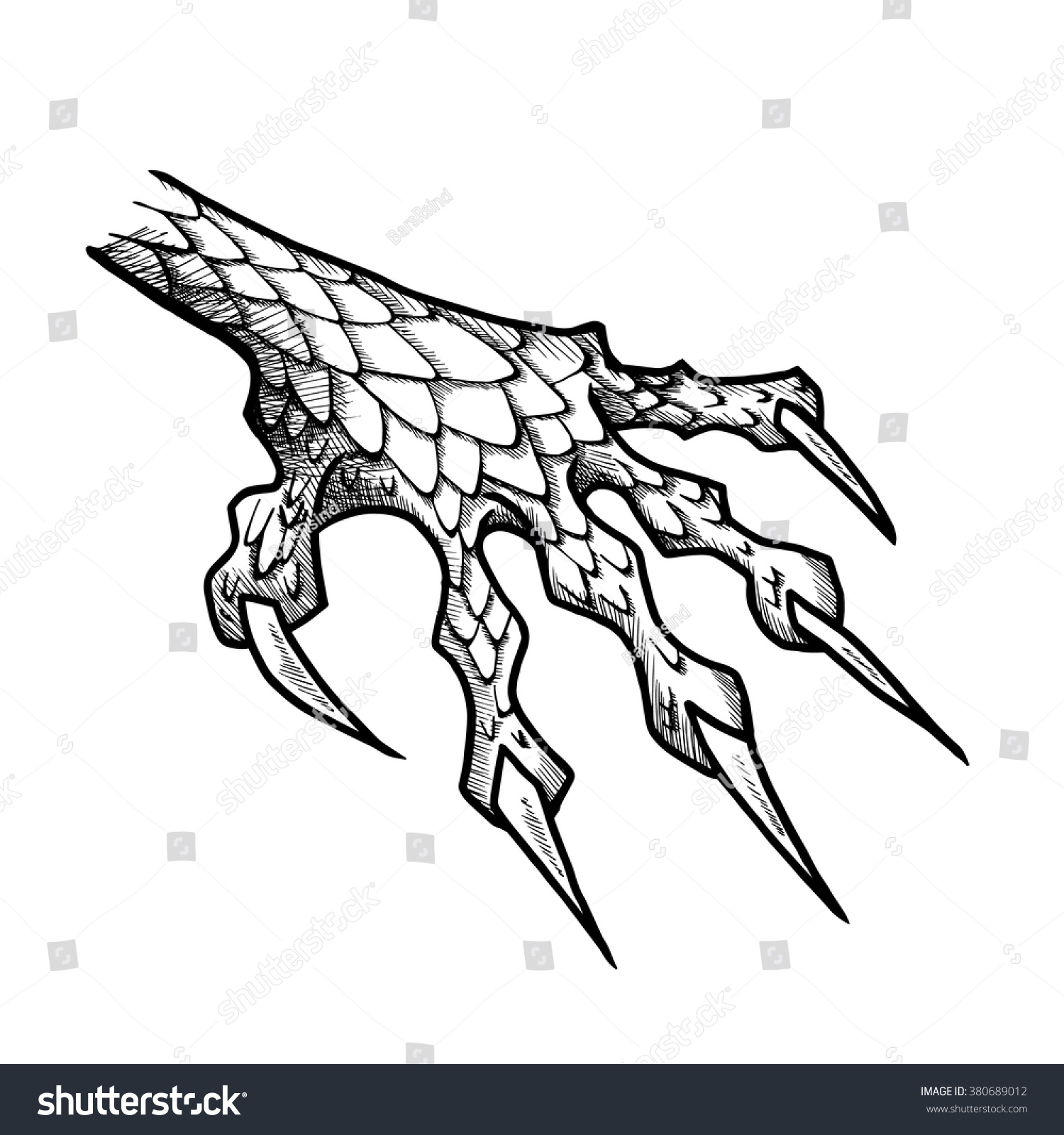 Dragon Monster Paw Claws Wild Tattoo Stock Vector Hd Royalty Free