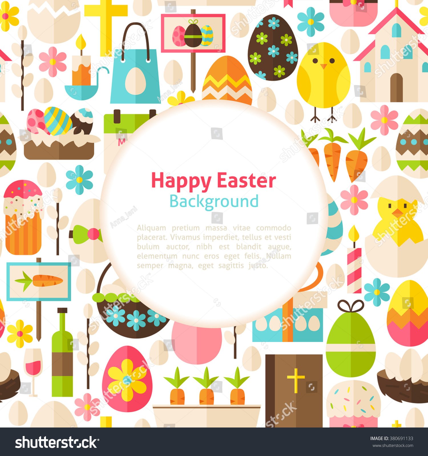 happy easter background flat style vector illustration for spring flat style vector illustration for spring religious holiday promotion template colorful