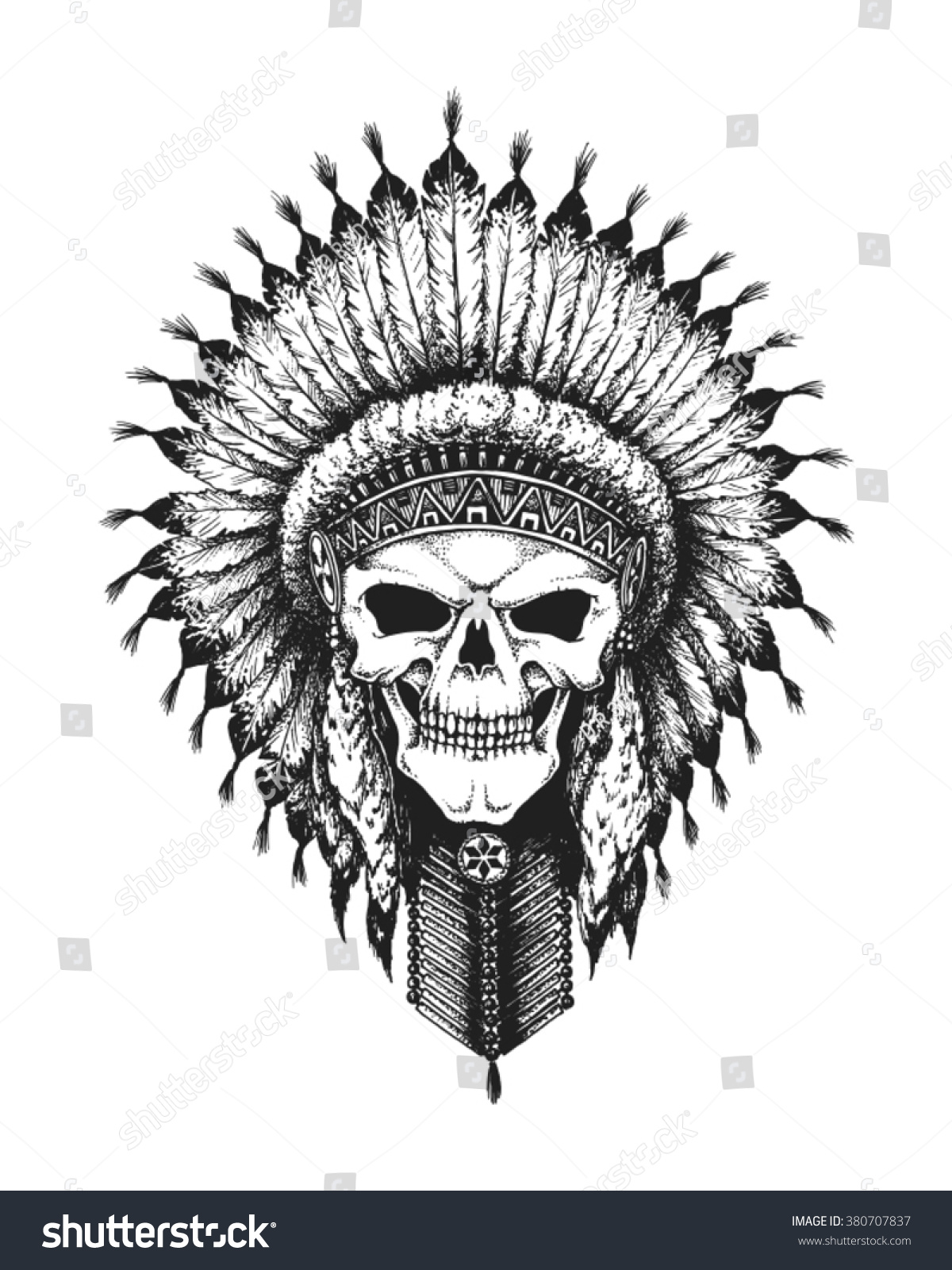 Hand Drawn Indian Chief Skull Wearing
