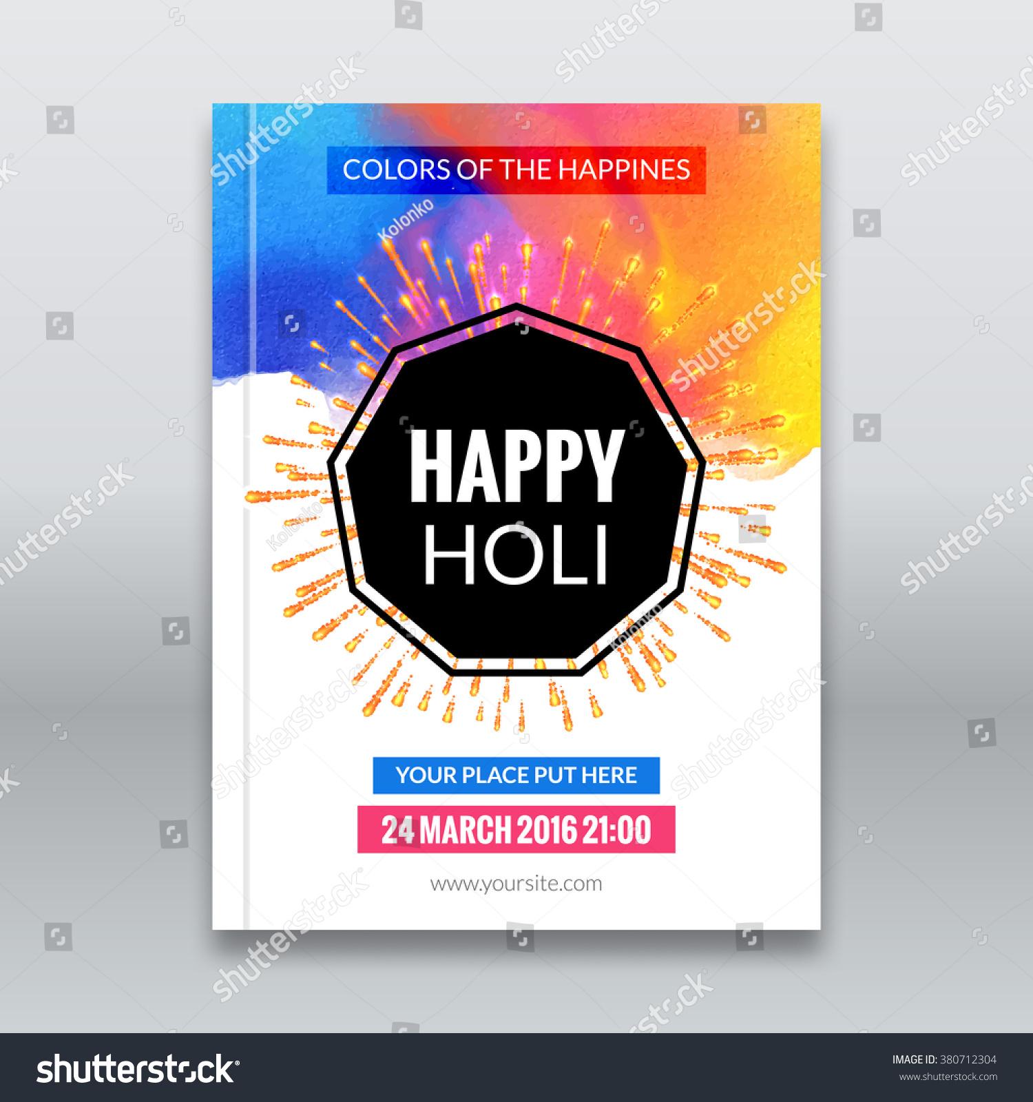 festival brochure design - holi festival poster template flyer brochure stock vector