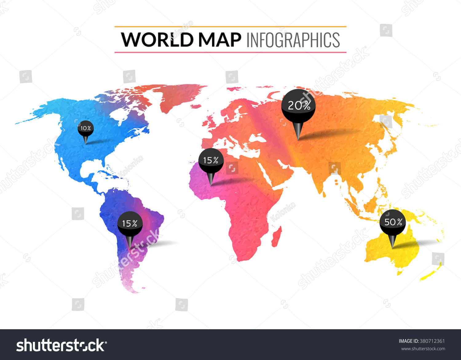 Colorful vector watercolor world map infographics vectores en stock colorful vector watercolor world map infographics world map wallpaper atlas travel earth gumiabroncs Gallery
