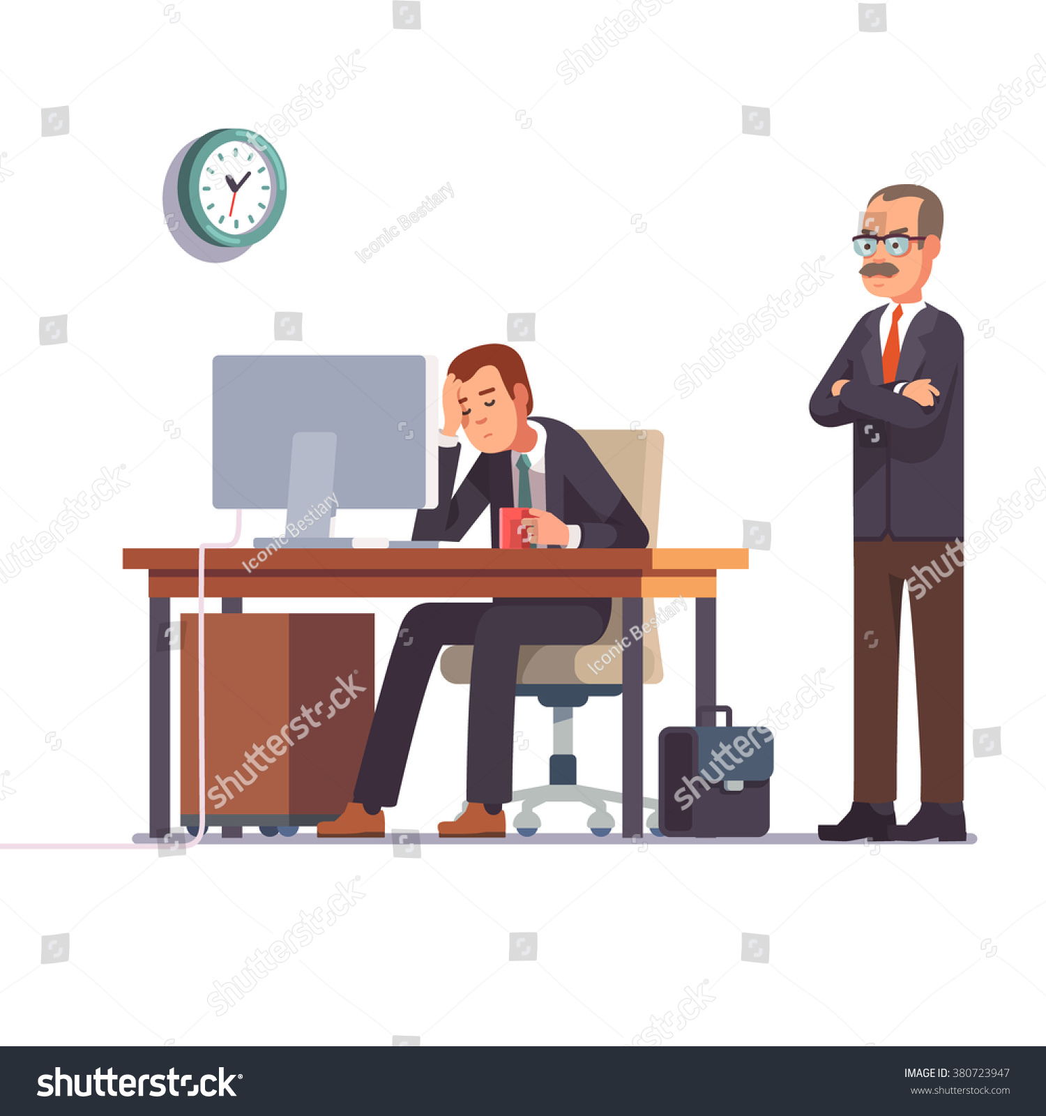 boss watching over shoulder sleeping work stock vector roller shutter computer desk
