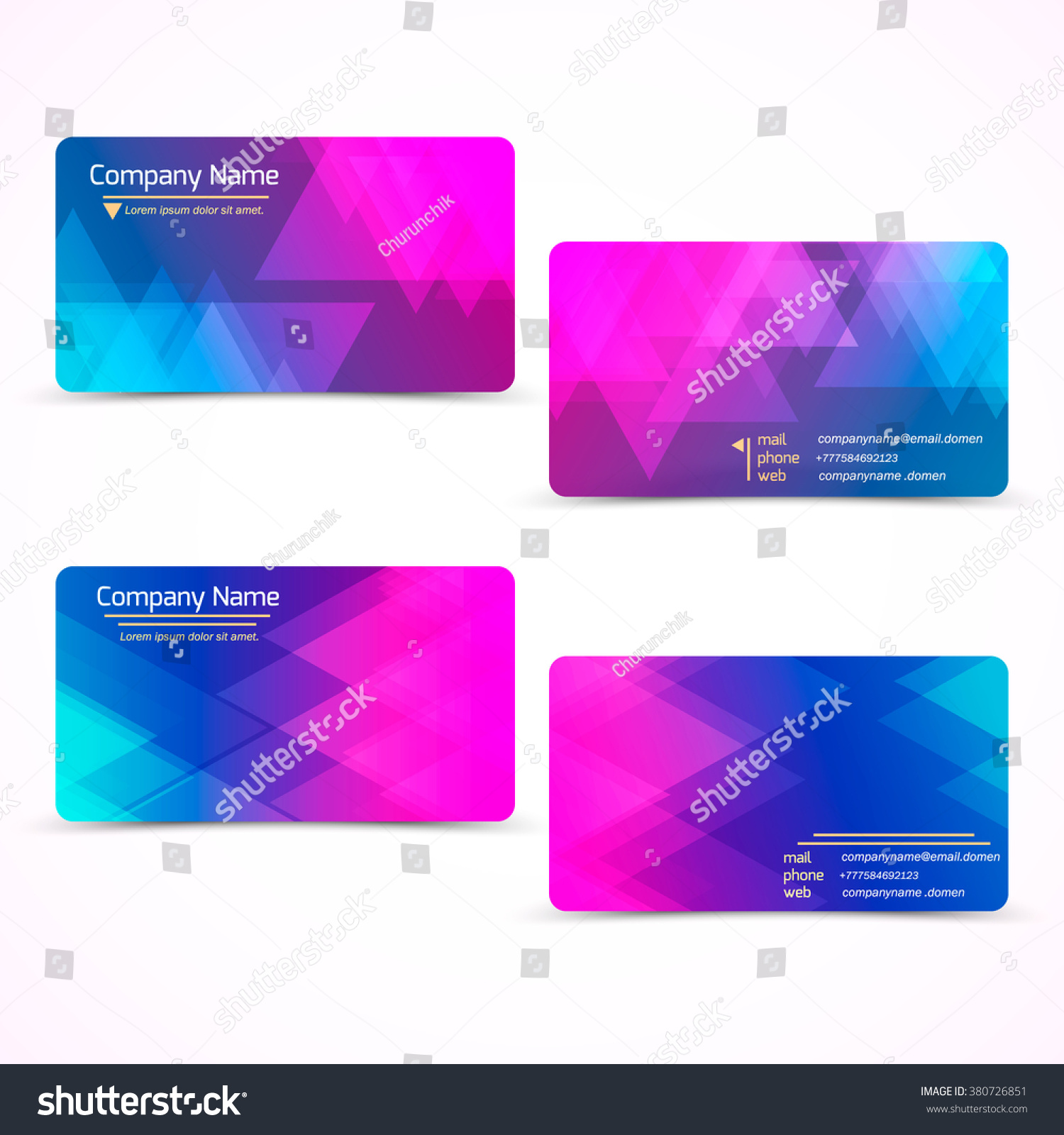 Set Two Color Modern Business Card Stock Vector