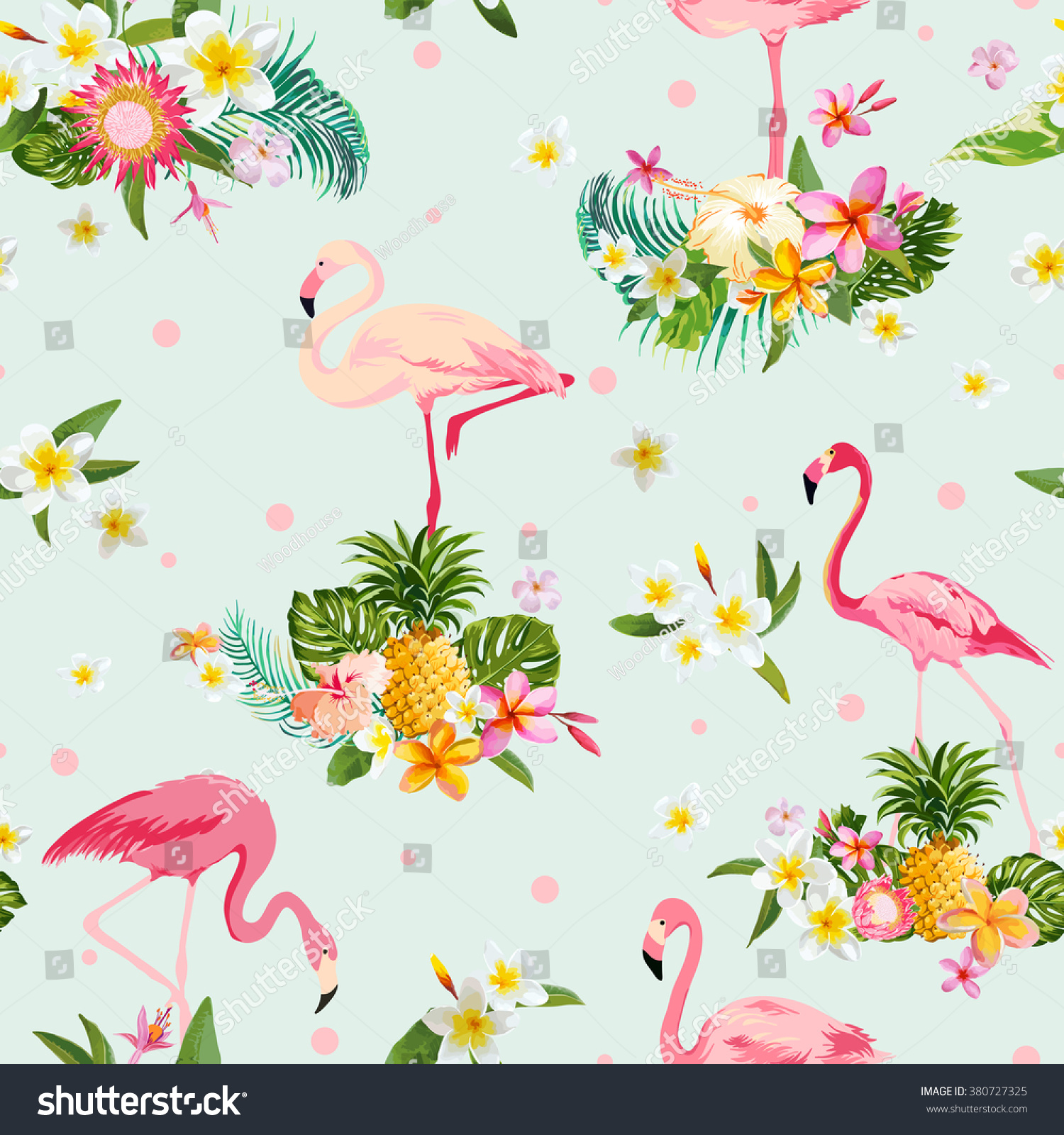 Vintage Style Tropical Bird And Flowers Background: Flamingo Bird Tropical Flowers Background Retro Stock