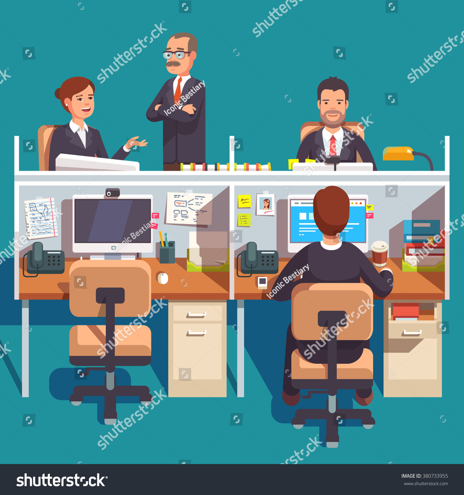 cubicle office work space with employees at the desks flat style modern vector