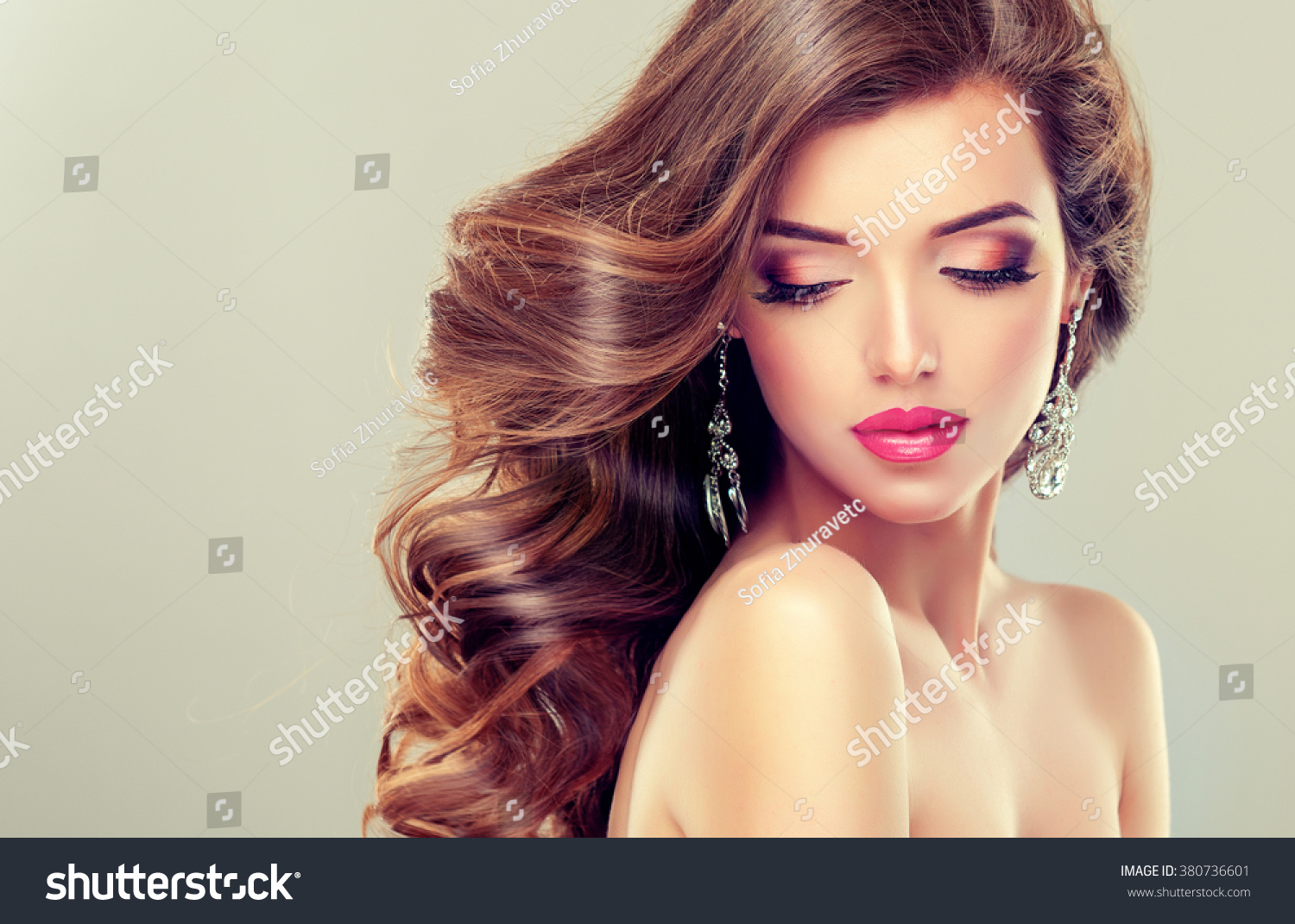 Beautiful Model Brunette Long Curled Hair Stock Photo ...
