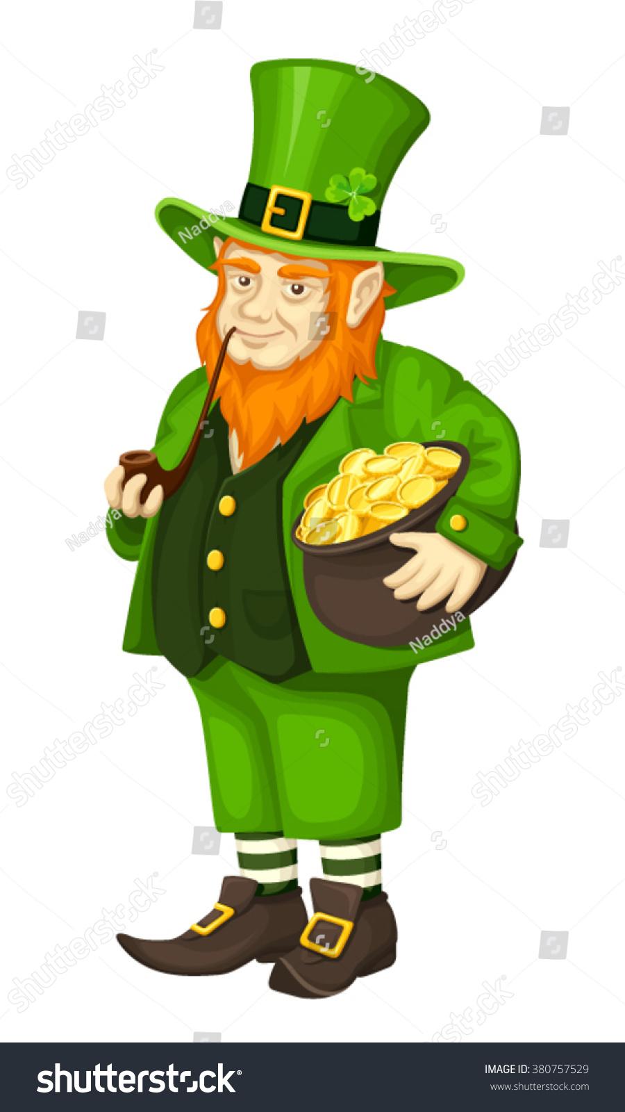 vector irish leprechaun green suit pot stock vector 380757529
