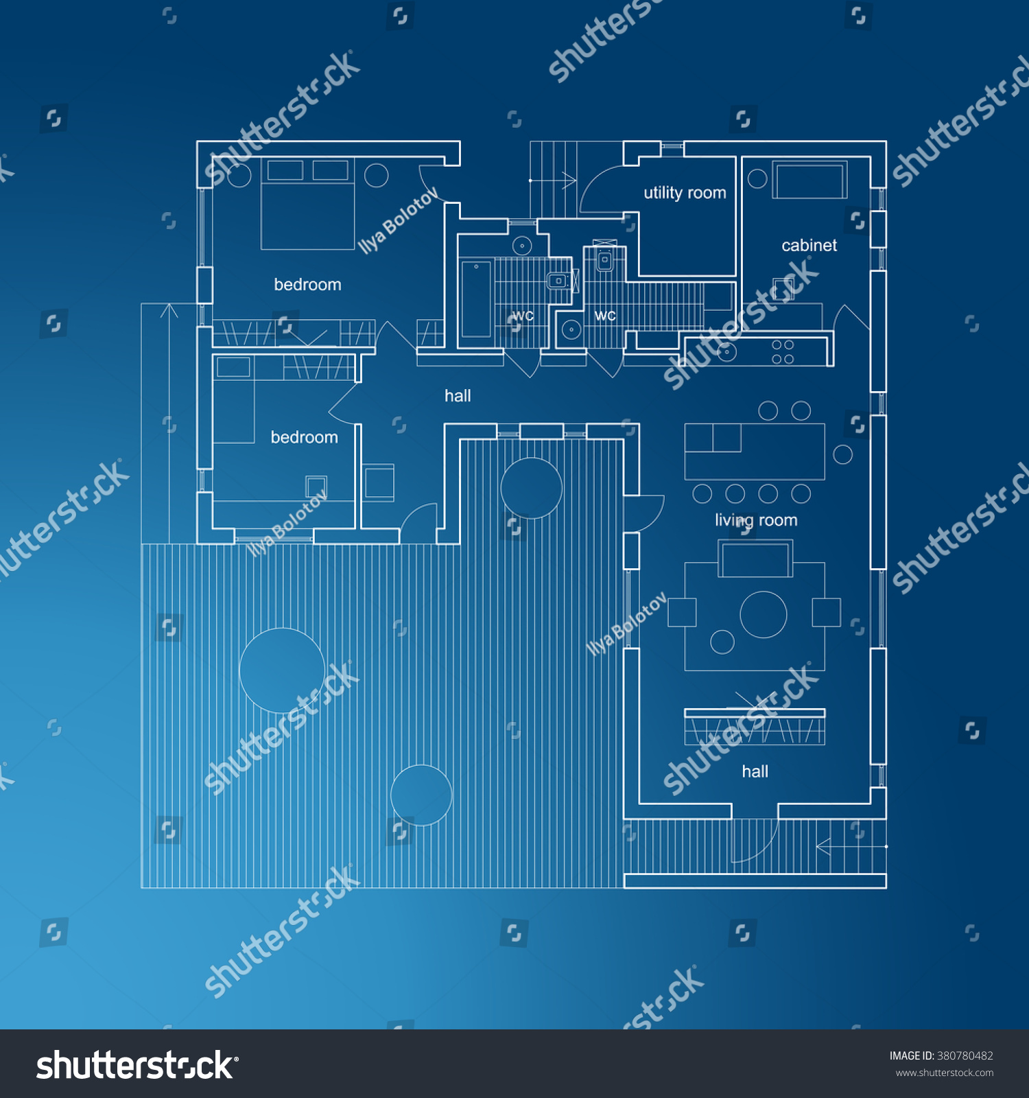 Architectural plan modern house vector blueprint vector de architectural plan of modern house vector blueprint malvernweather Choice Image