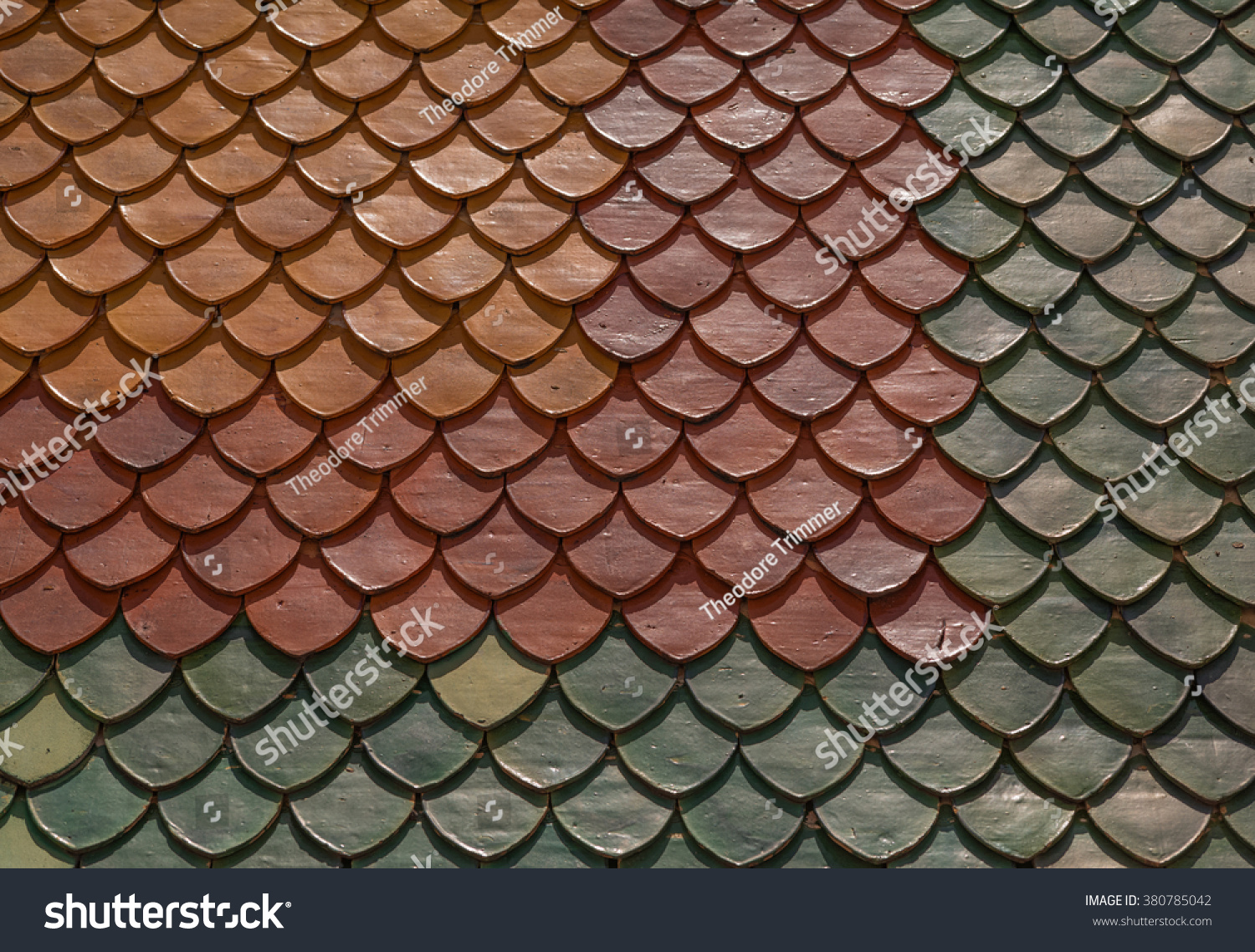 Dark Yellow Red And Green Ceramic Tile Roof Ez Canvas