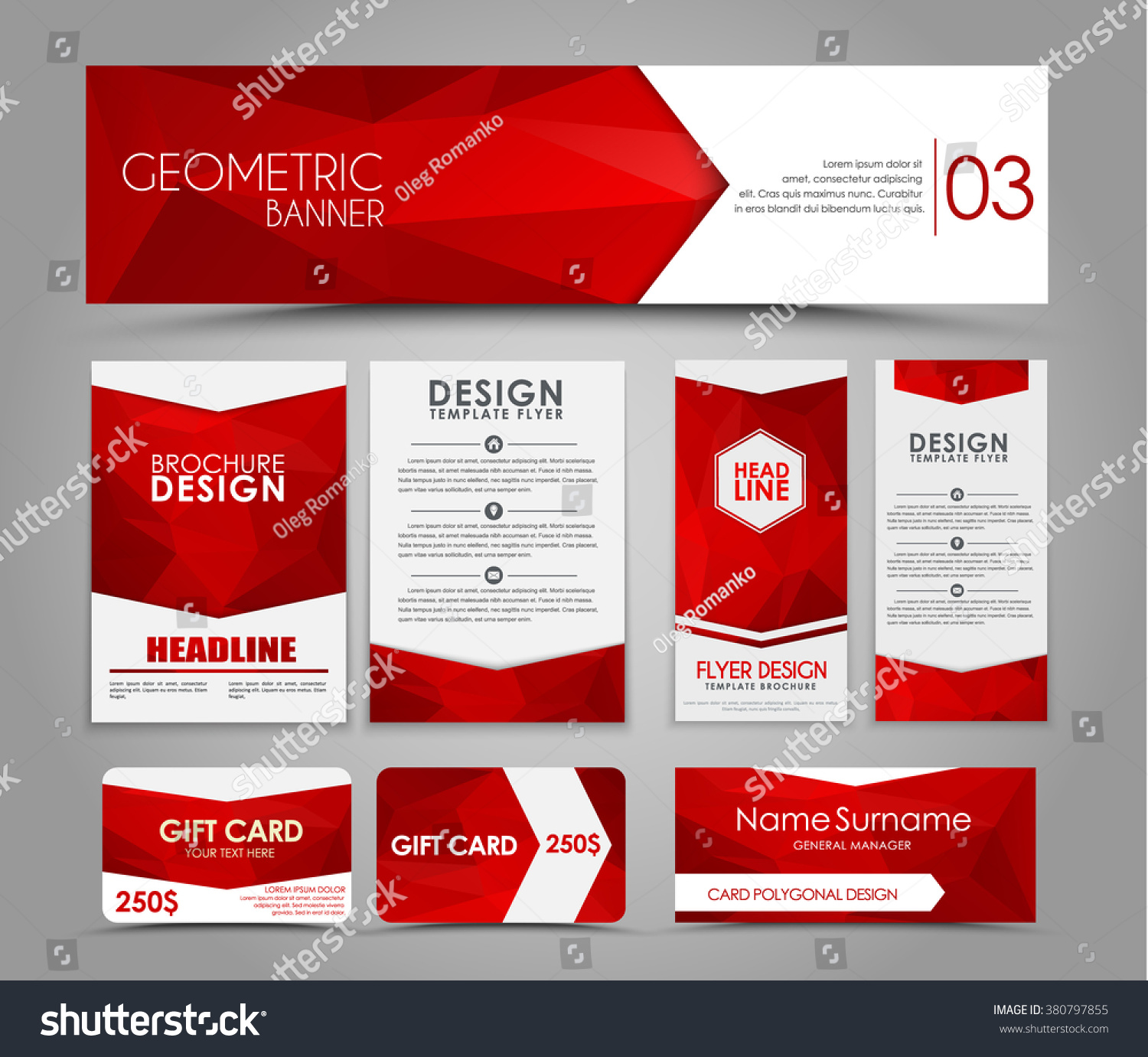 design flyers banners brochures cards red stock vector  design of flyers banners brochures and cards red polygonal elements corporate identity