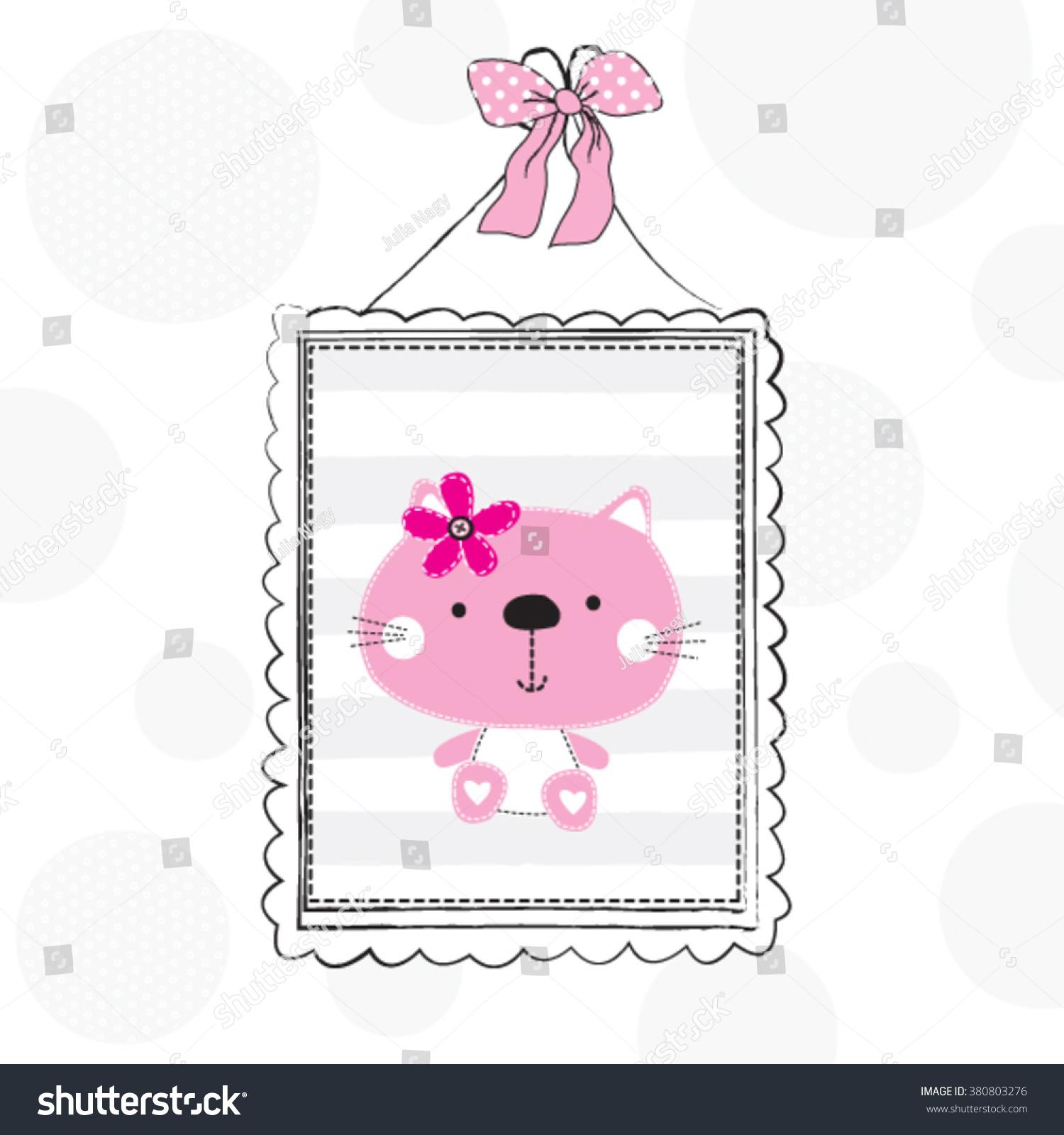 Cute Cat Wall Decoration Cute Girls Stock Vector Royalty