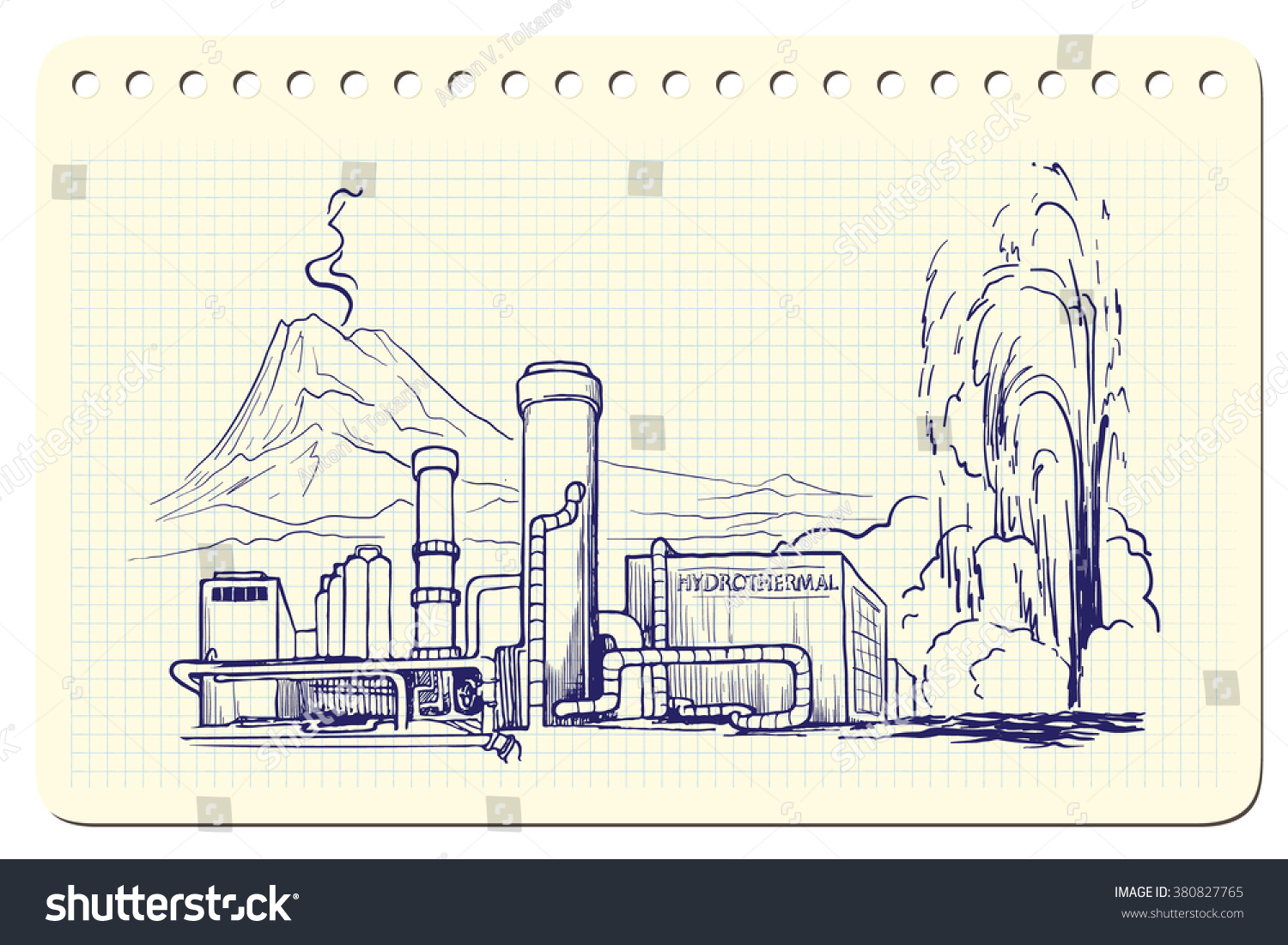 Geothermal Power Station Sketch Imitating Ink Stock Vector Royalty Plant Diagram Pen Scribbling In A Notepad Is Isolated