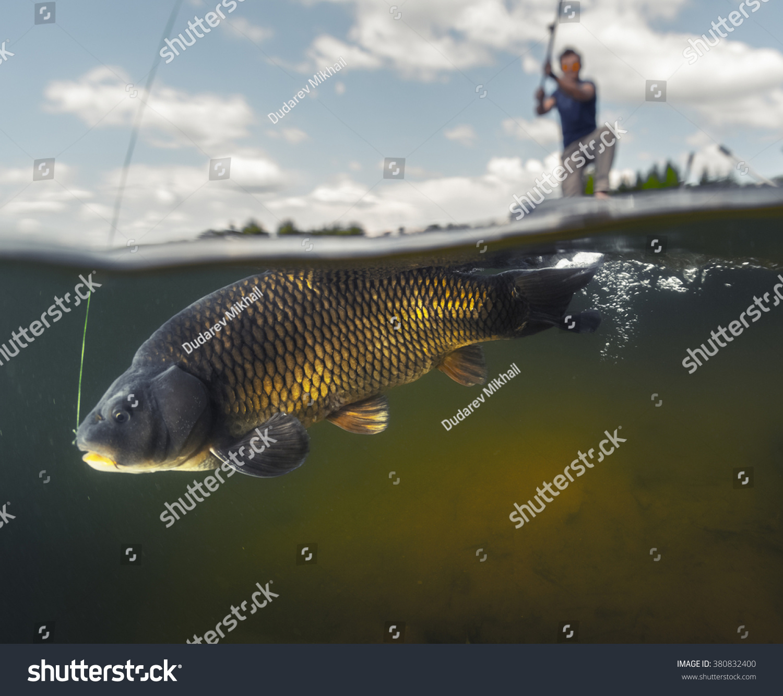Split shot man fishing on lake stock photo 380832400 for Split shot fishing