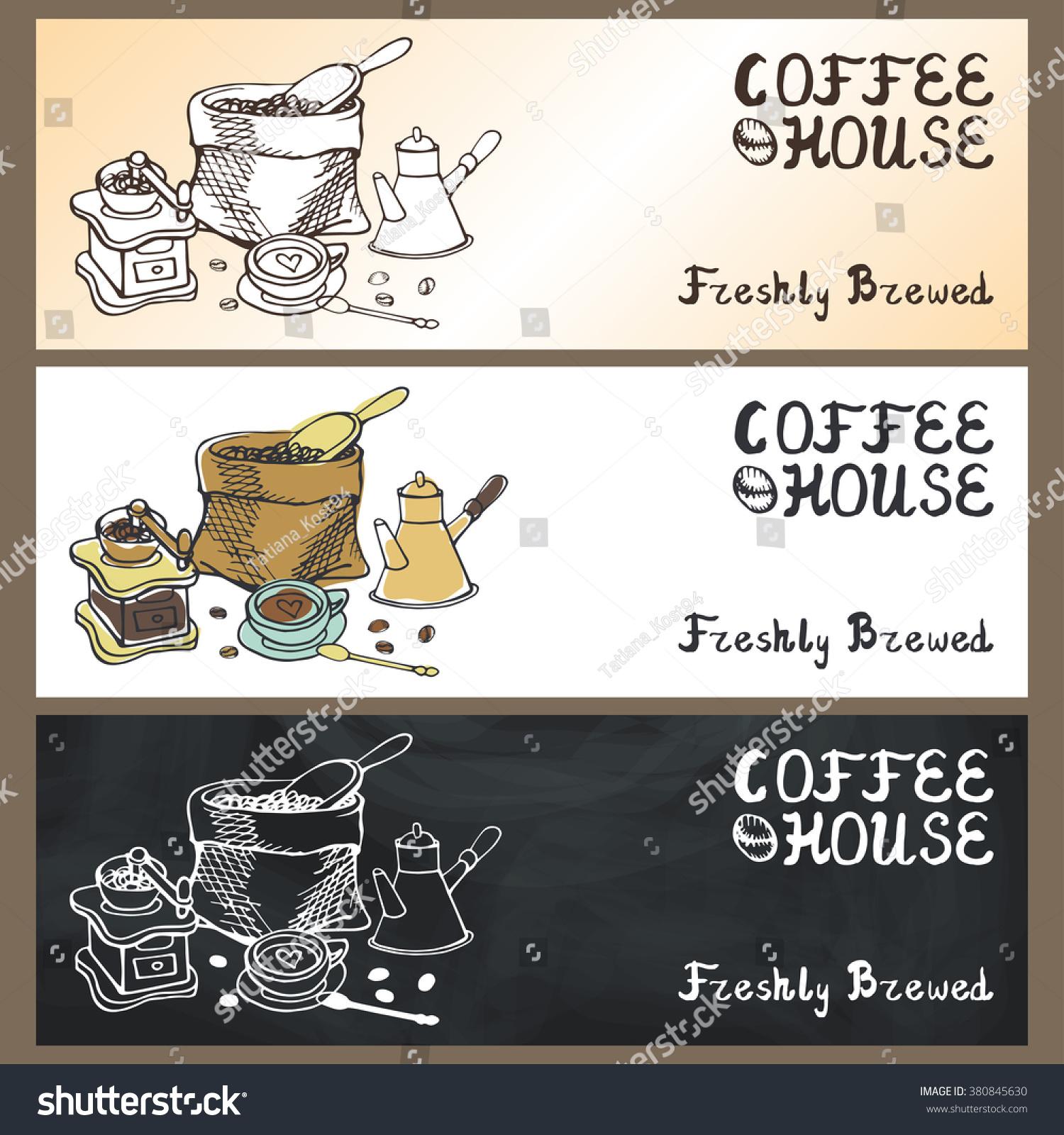 Coffee Doodles Tableware Bannerbrochureslabelvector Hand Drawn Stock ...