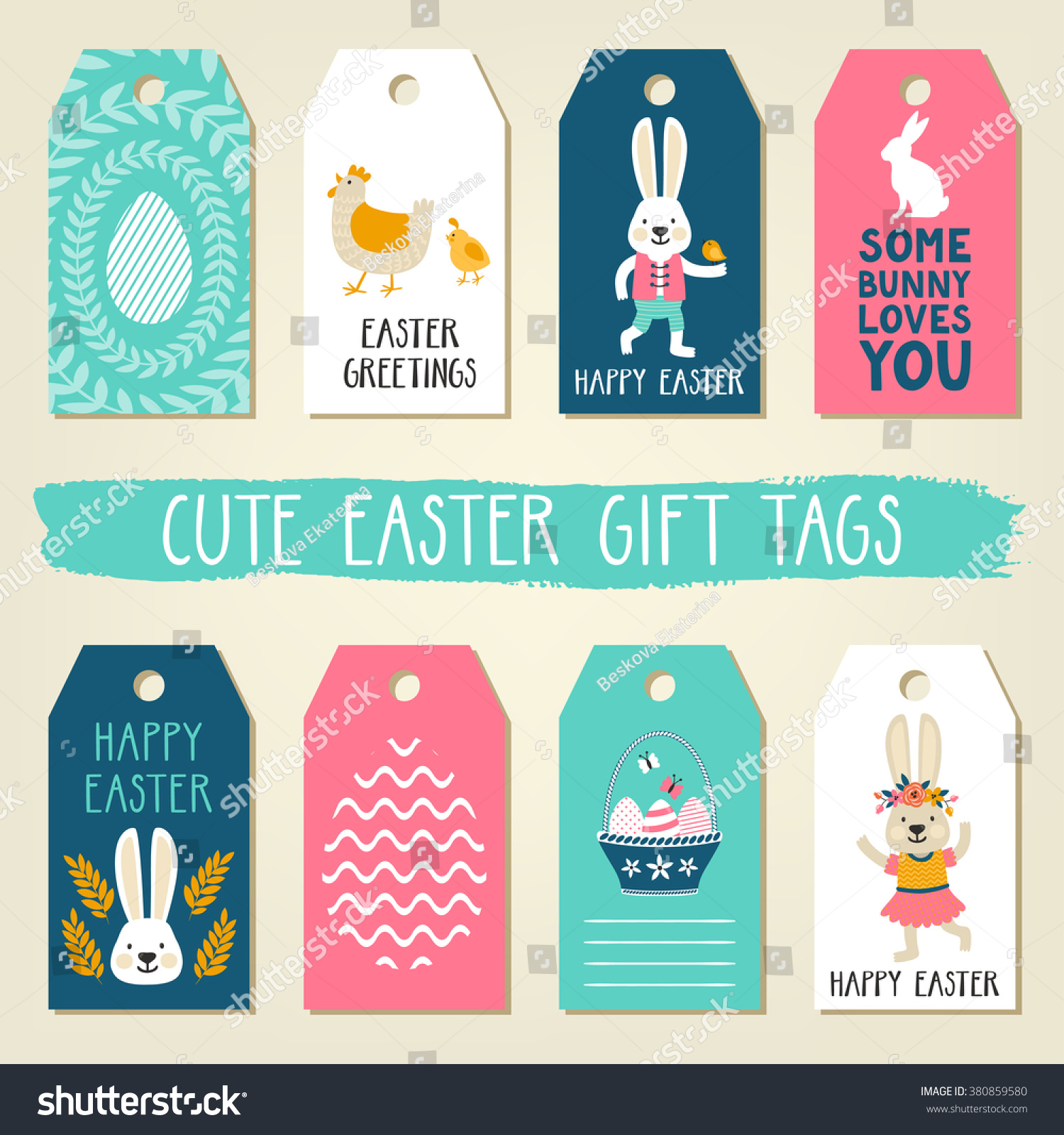 Easter gift tags cute easter bunny stock vector 380859580 easter gift tags with cute easter bunny chicken basket with eggs and easter greetings negle Gallery