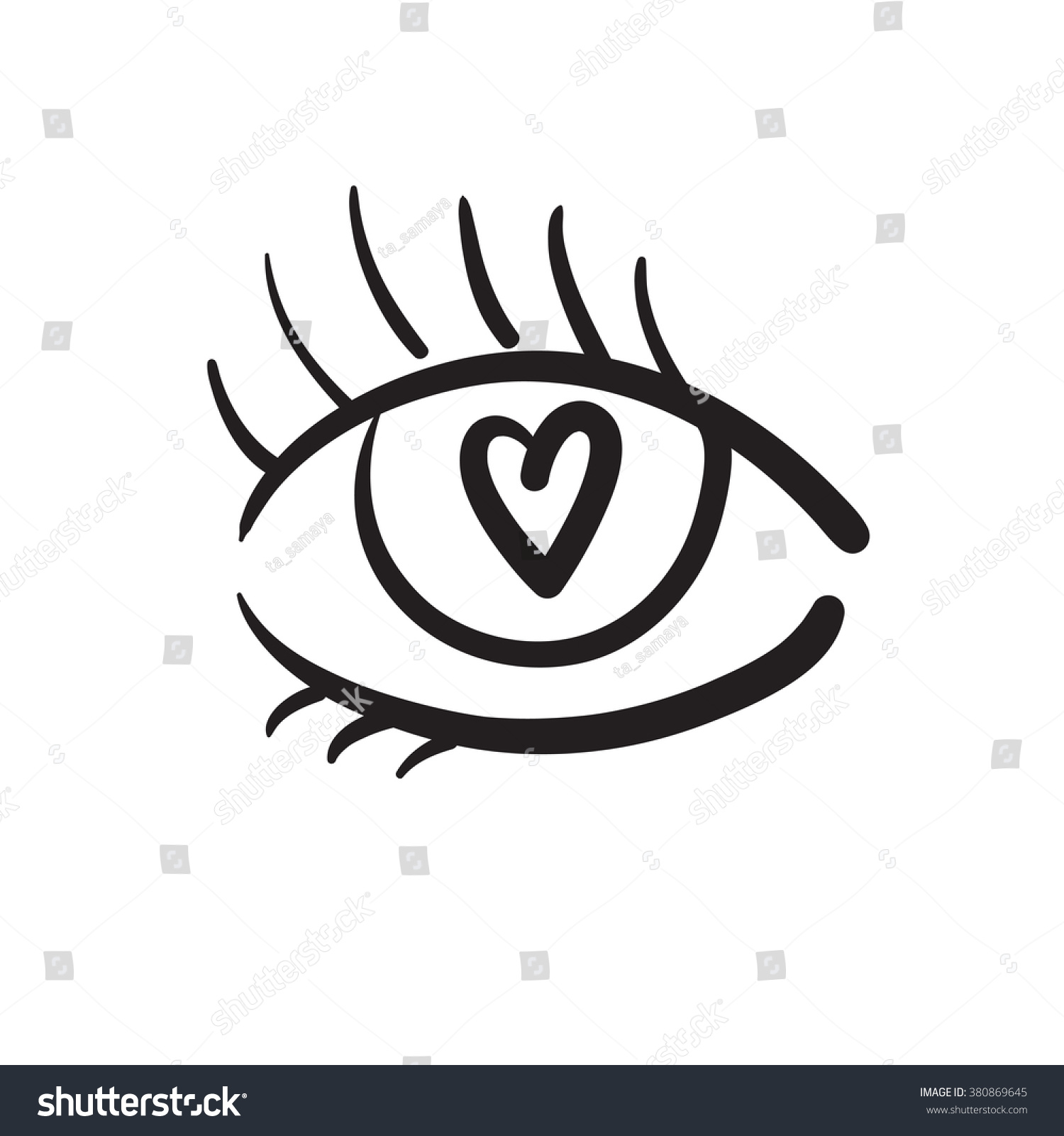 Hand drawn eye little heart inside stock vector 380869645 shutterstock hand drawn eye with little heart inside vector illustration black and white buycottarizona Images