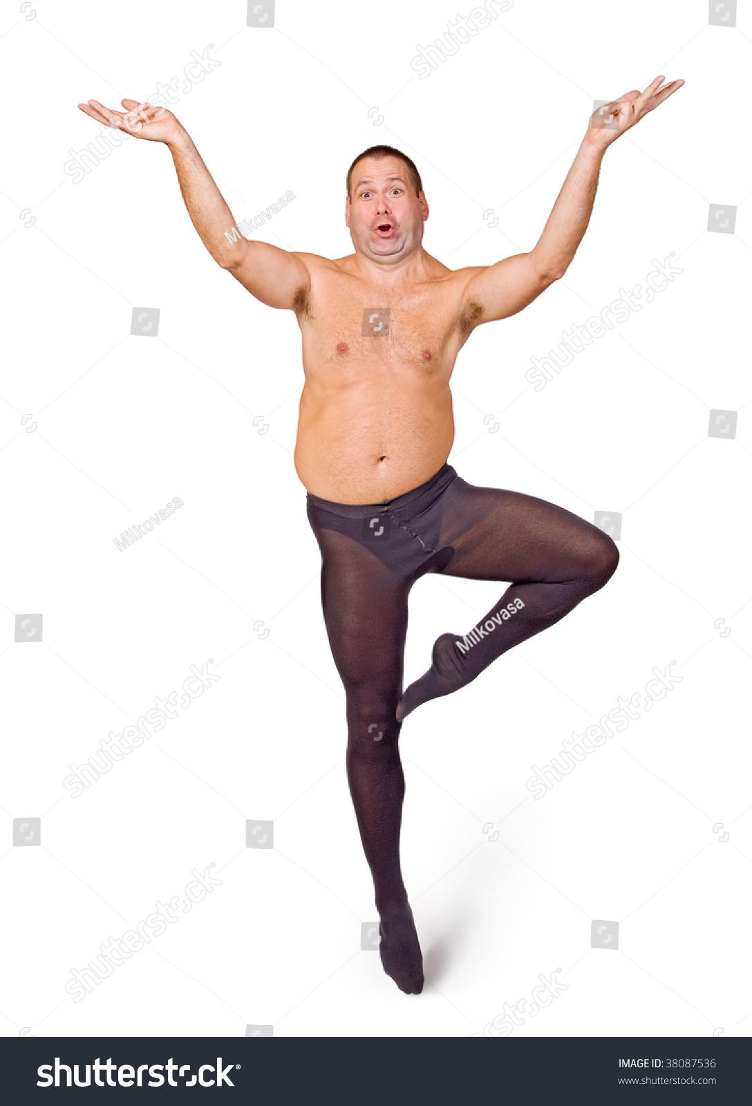 fat man dancing ballet on white stock photo (royalty free) 38087536