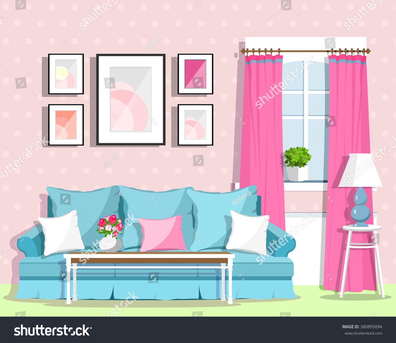 Cute Colorful Living Room Interior Design With Furniture. Retro Style.  Vector Illustration