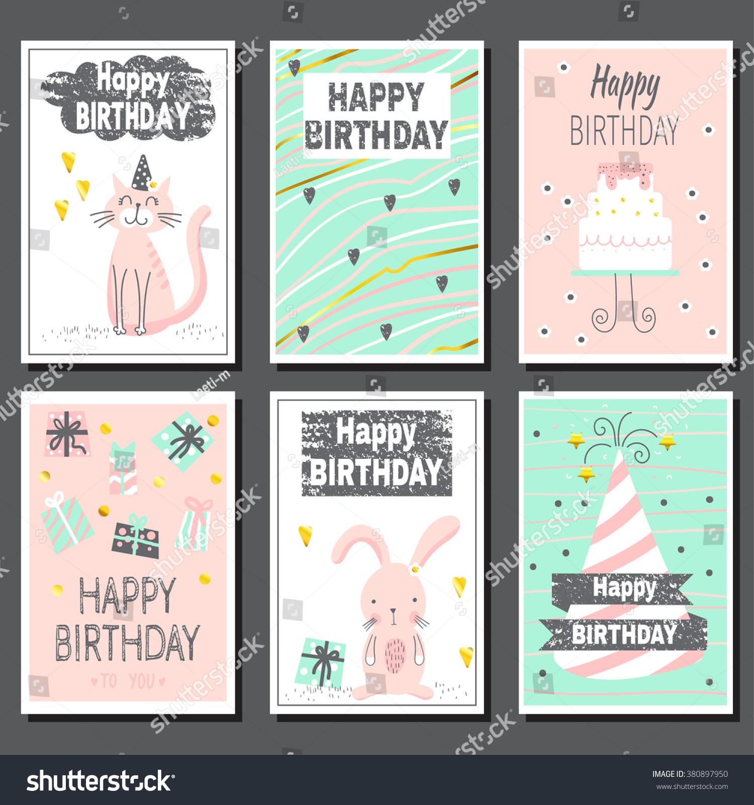 set six childrens postcards cute birthday stock vector royalty free