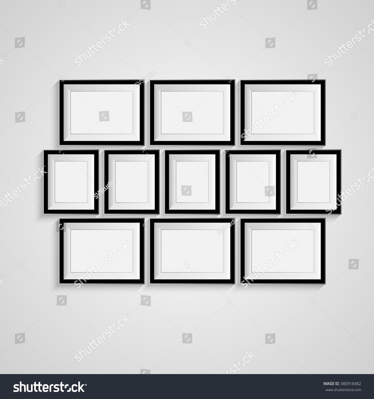 Many Black Blank Picture On Wall Stock Vector (Royalty Free ...