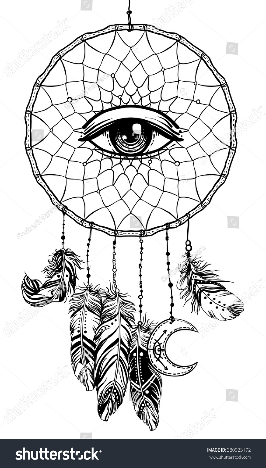 The hipster coloring book for adults - Color Hand Drawn Native American Indian Talisman Dreamcatcher With Eye Feathers And Moon Vector Hipster