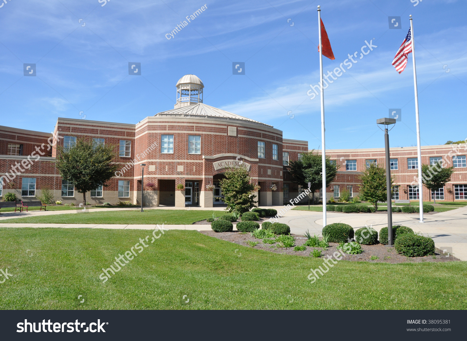 Exterior modern american high school building stock photo for American house construction