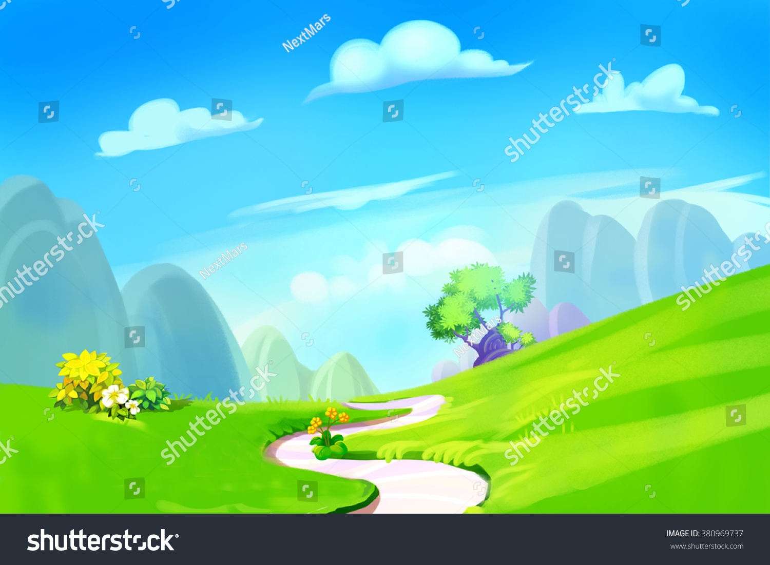 Fantastic Wallpaper Mountain Cartoon - stock-photo-creative-illustration-and-innovative-art-clean-green-hill-with-road-to-the-mountain-realistic-380969737  Image_948745.jpg