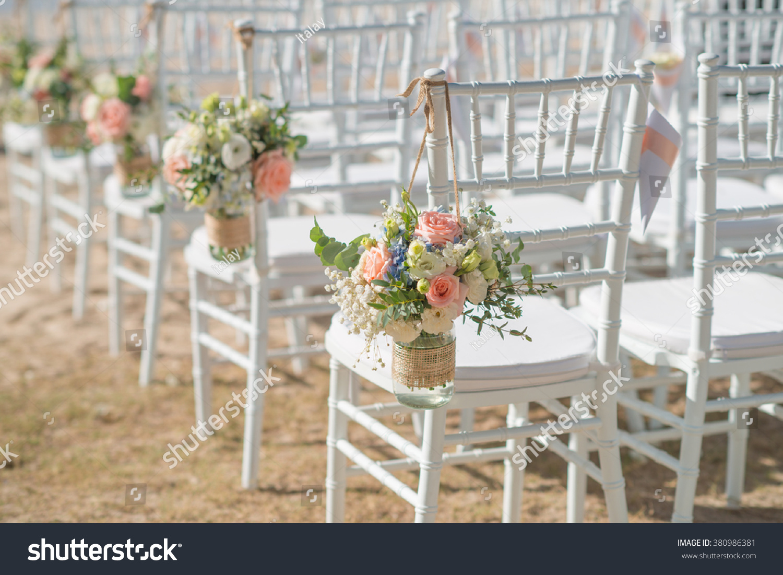 Beautiful wedding setting on beach sunny stock photo for Wedding photography settings