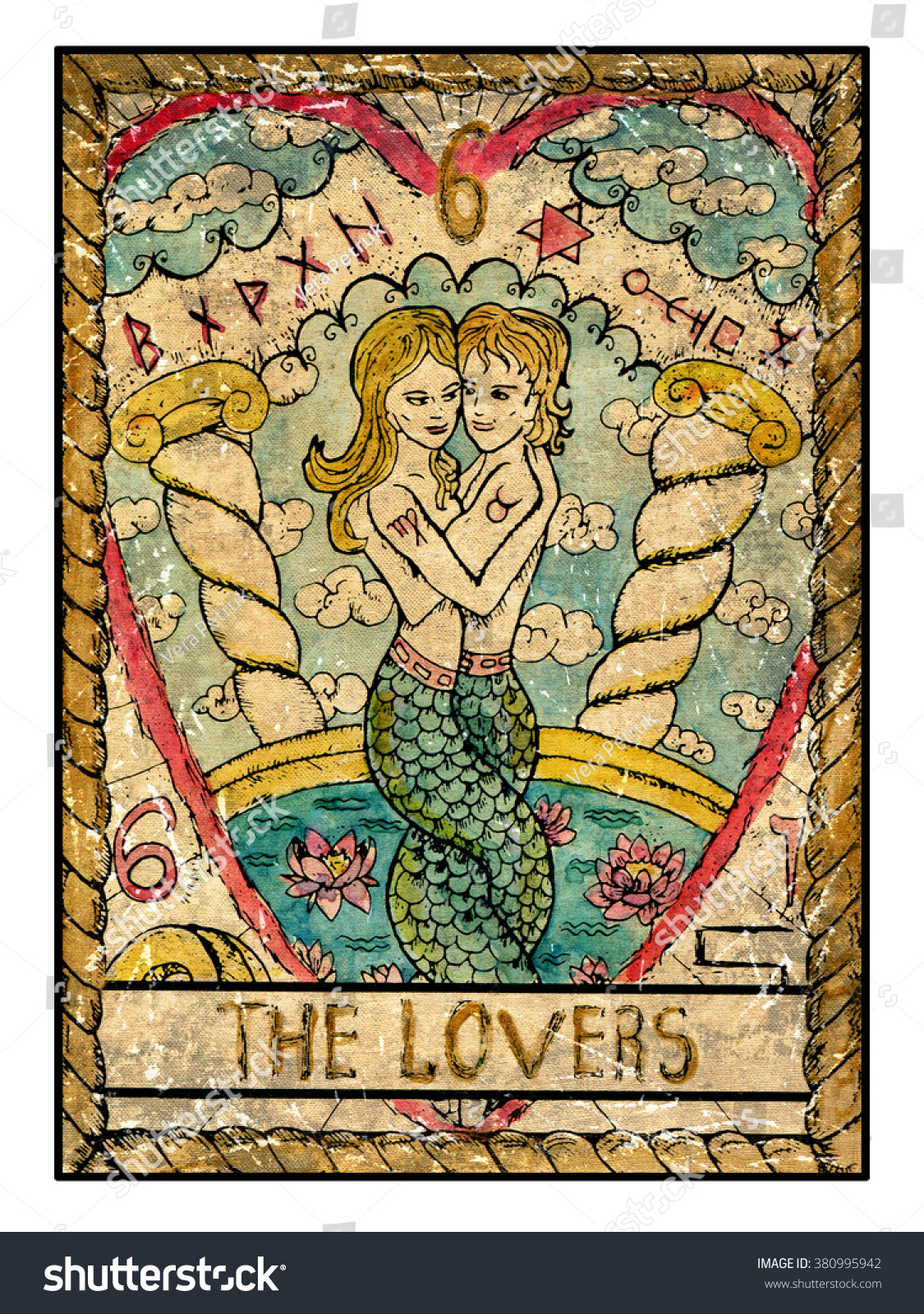 Lovers Full Colorful Deck Major Arcana Stock Illustration