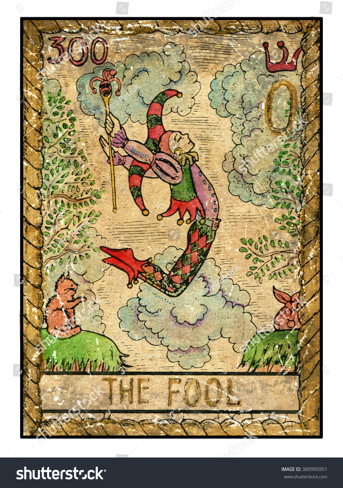 Fool Full Colorful Deck Major Arcana Stock Illustration