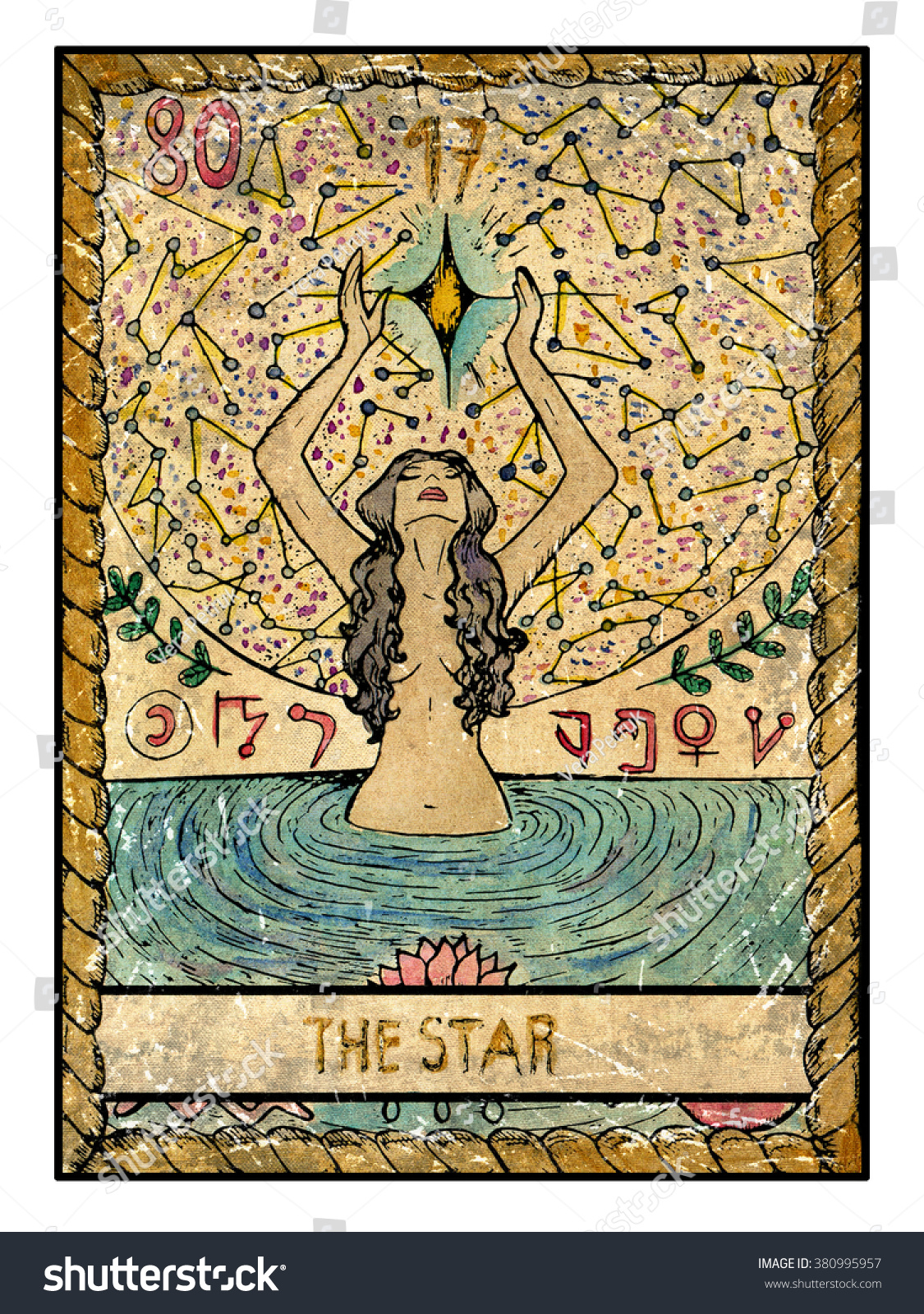 Star Full Colorful Deck Major Arcana Stock Illustration