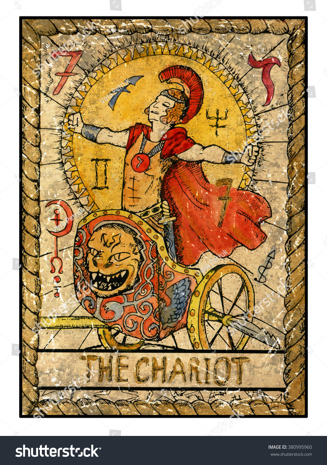 Chariot Full Colorful Deck Major Arcana Stock Illustration