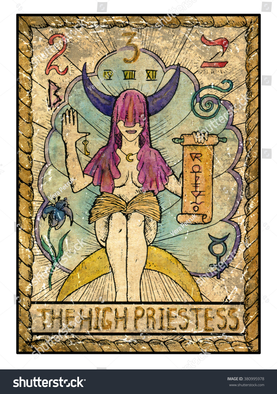 High Priestess Full Colorful Deck Major Stock Illustration