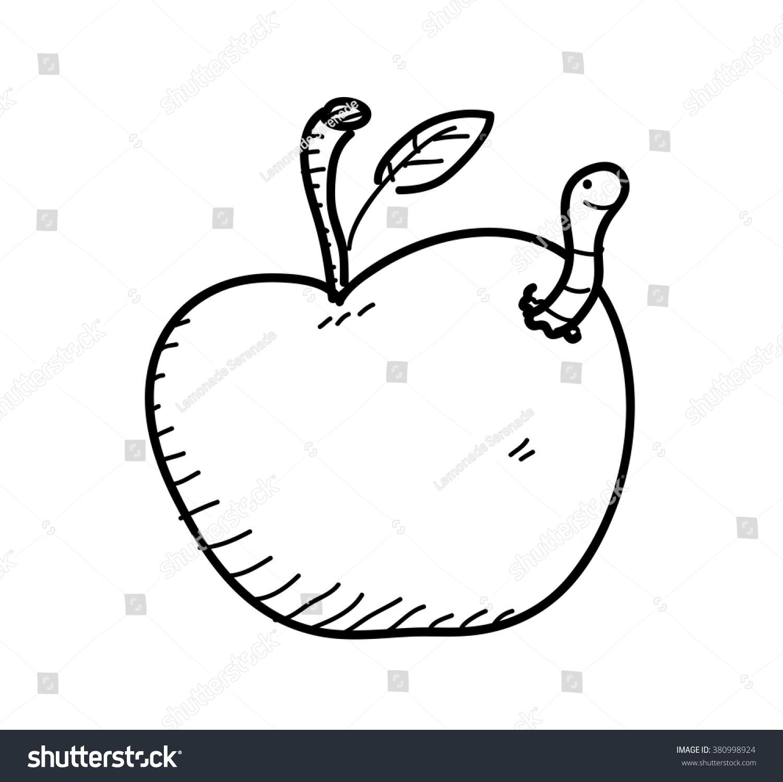 apple worm doodle hand drawn vector stock vector 380998924