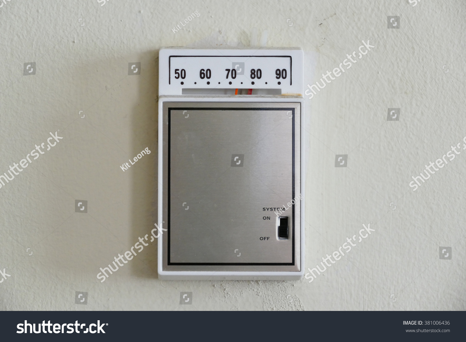 Retro Room Temperature Control Box Thermostat Stock Photo Edit Now On Off Of