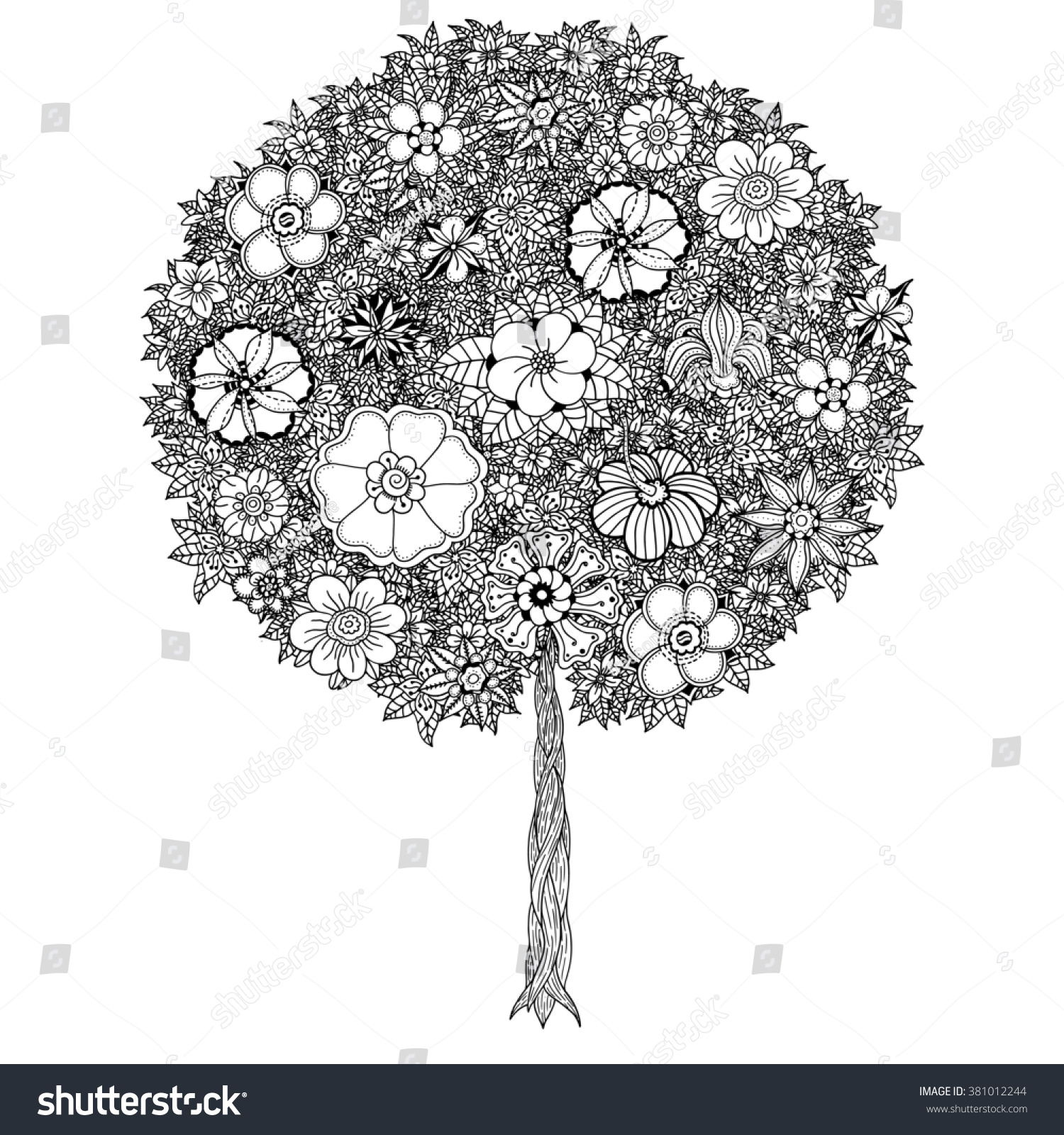 Tree With Leaves And Flowers Art Coloring Book Page For Adults Hand Drawn