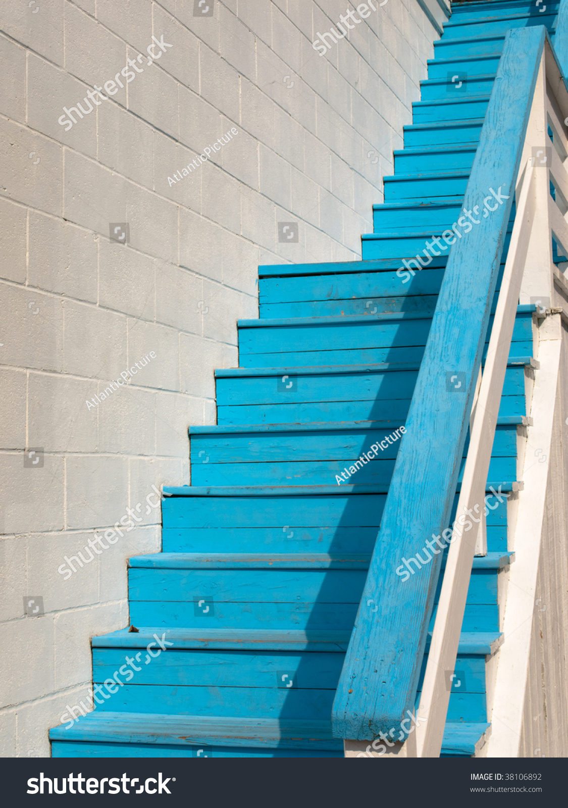 Blue Steps To Success: Blue Steps On A White Building Stock Photo 38106892