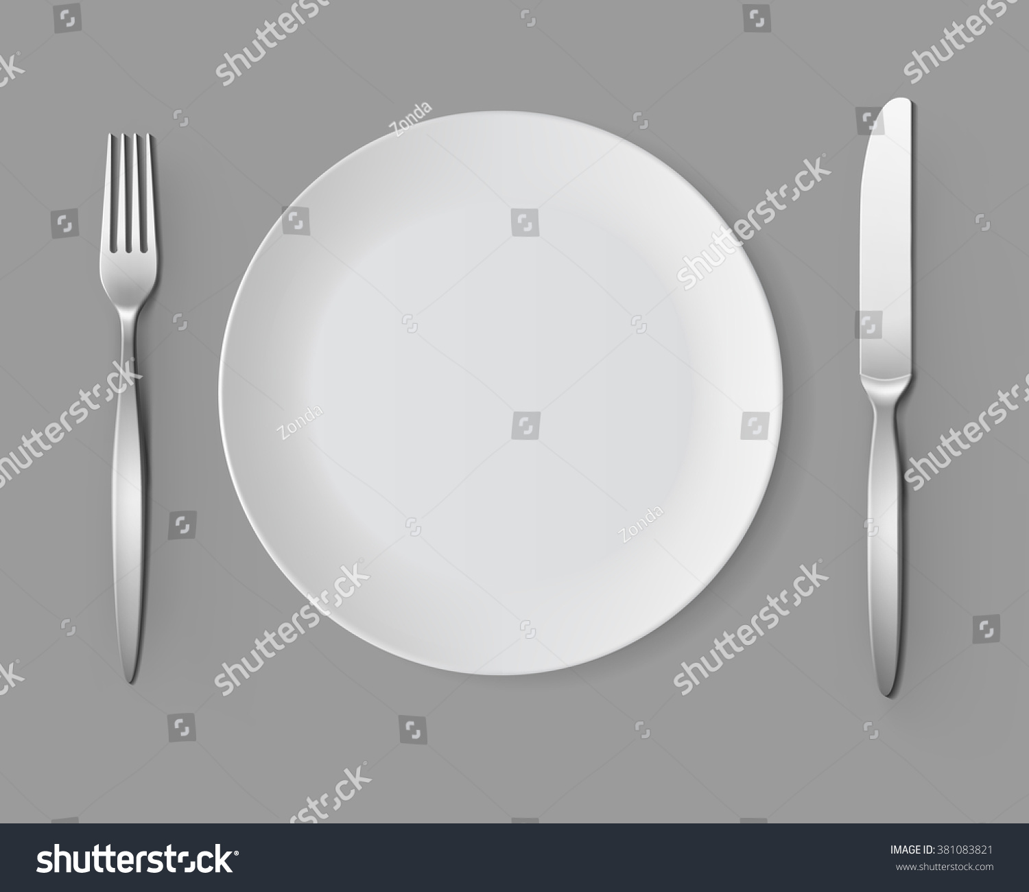 An empty white dish with knife and fork on a table - Vector White Empty Round Plate With Fork And Knife Top View Isolated On Background Table