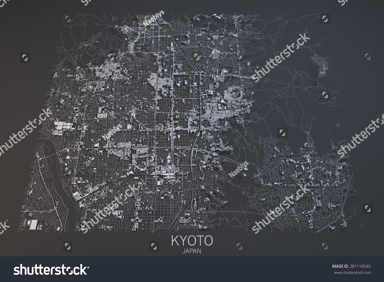 Kyoto Map Satellite View Japan Stock Illustration - Japan map view