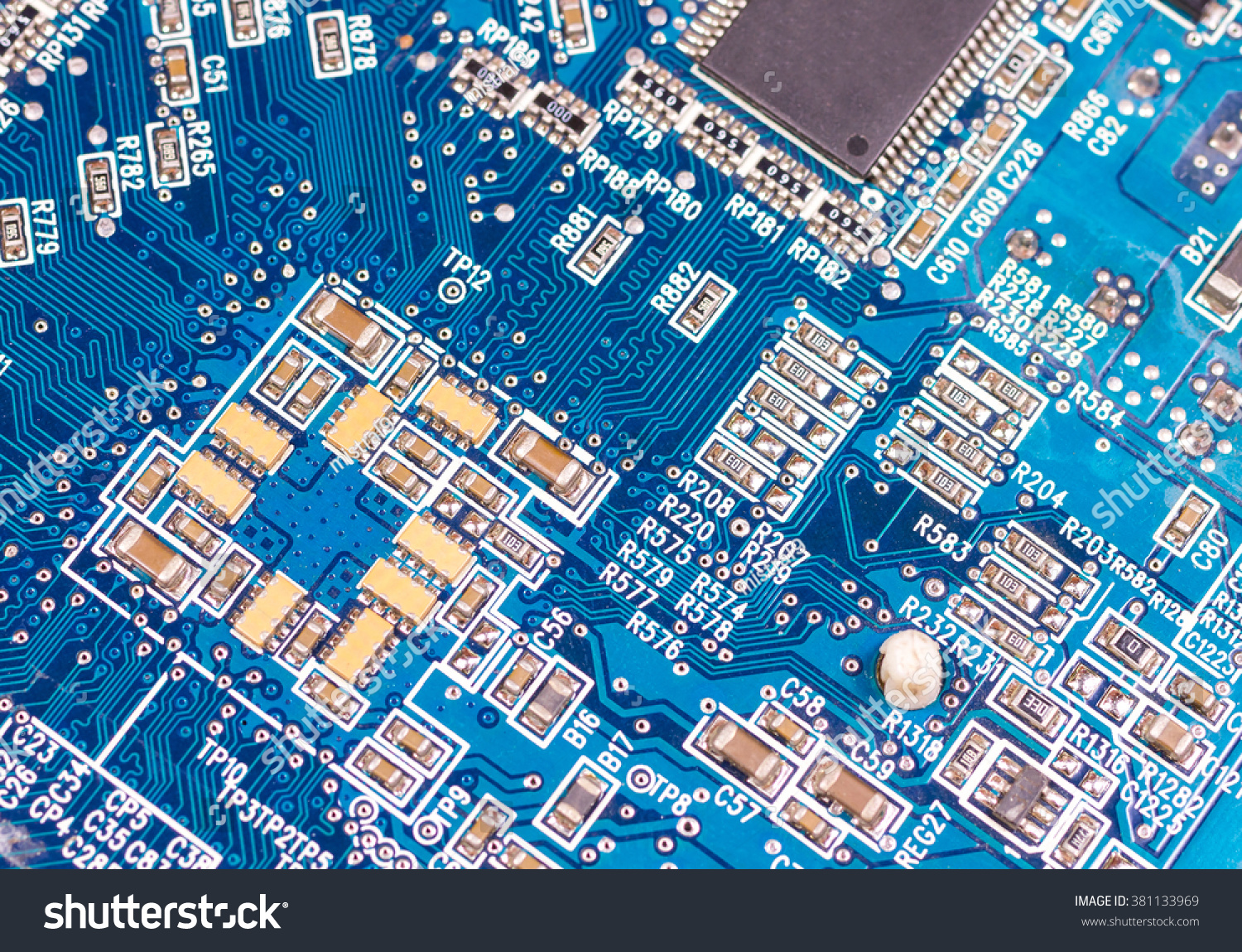 Big Electronic Circuit Board Radio Components Stock Photo Edit Now With Soldered On A Blue Pcb
