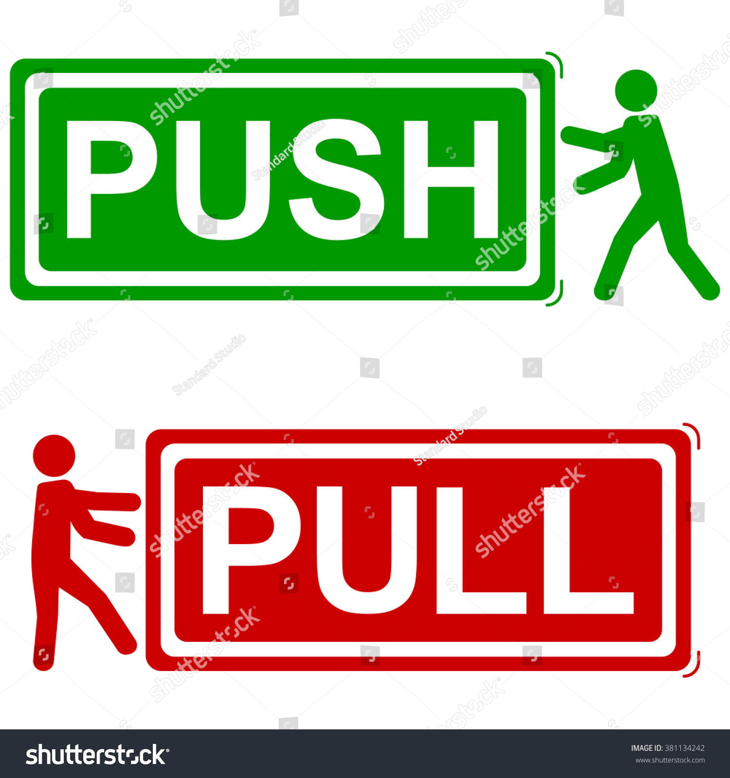 Push and pull signs vector illustration green red icons with man icon pushing or pulling