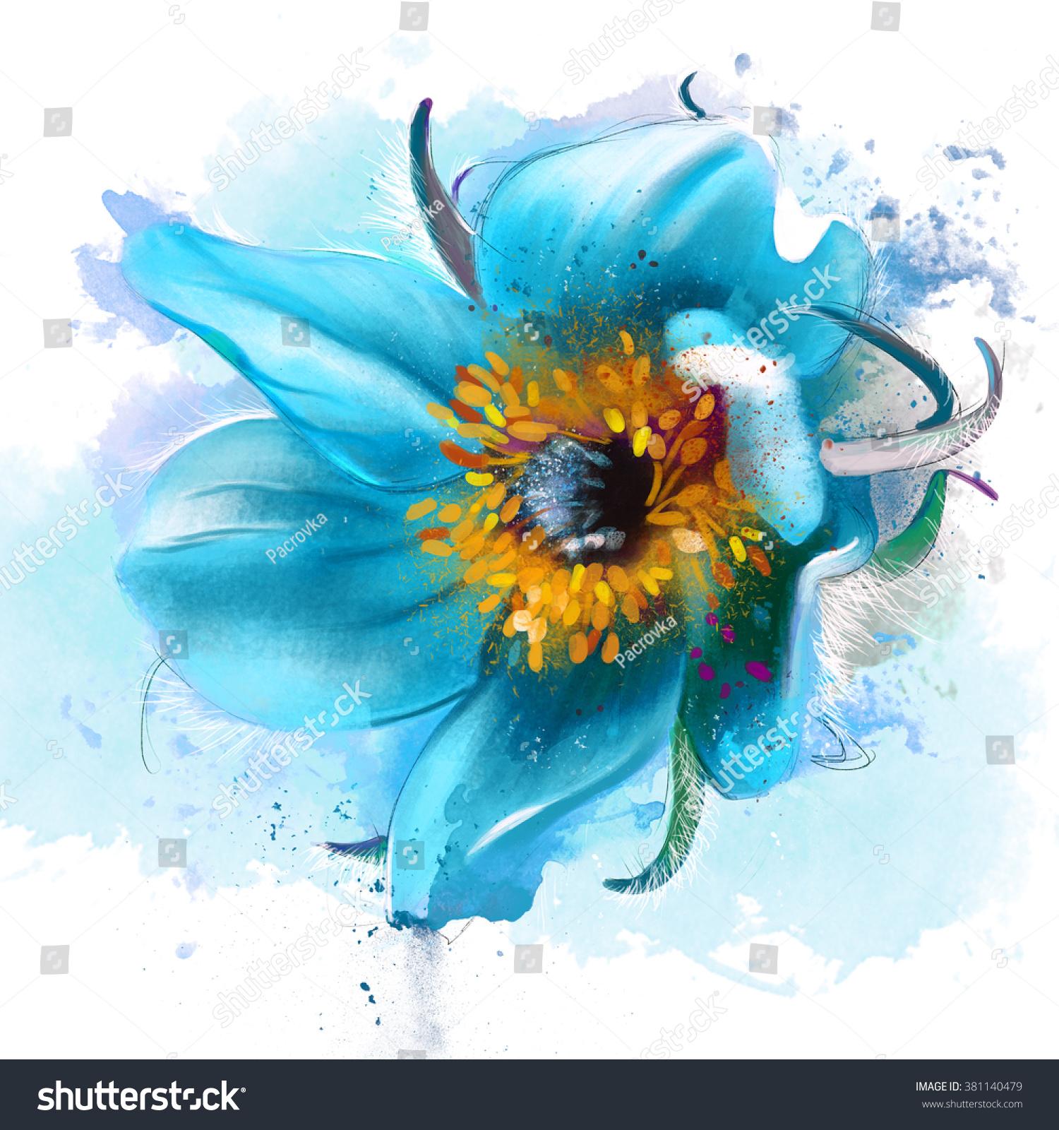 Beautiful Blue Flower Dream Grass On Stock Illustration 381140479