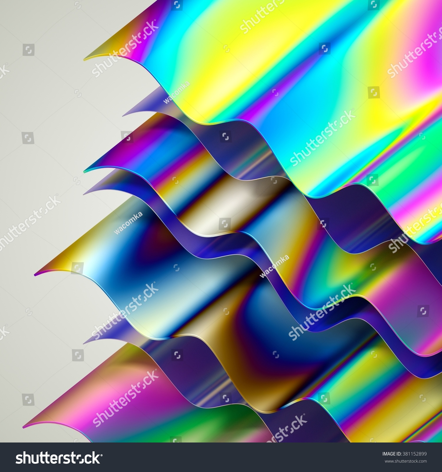 Abstract Holographic Layers Wavy Background Modern Stock