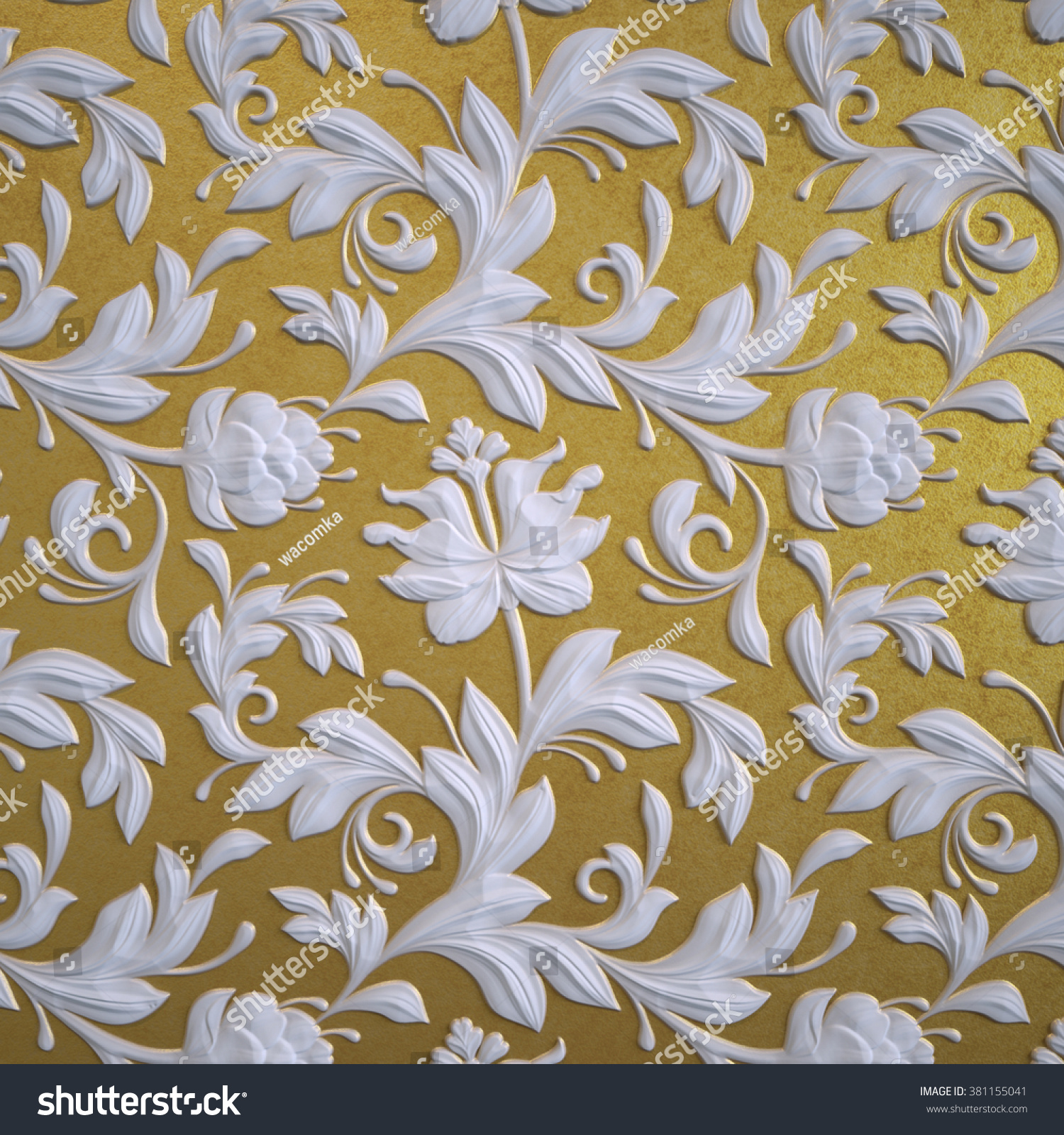 Abstract Gold Floral Wallpaper White Relief Stock Illustration