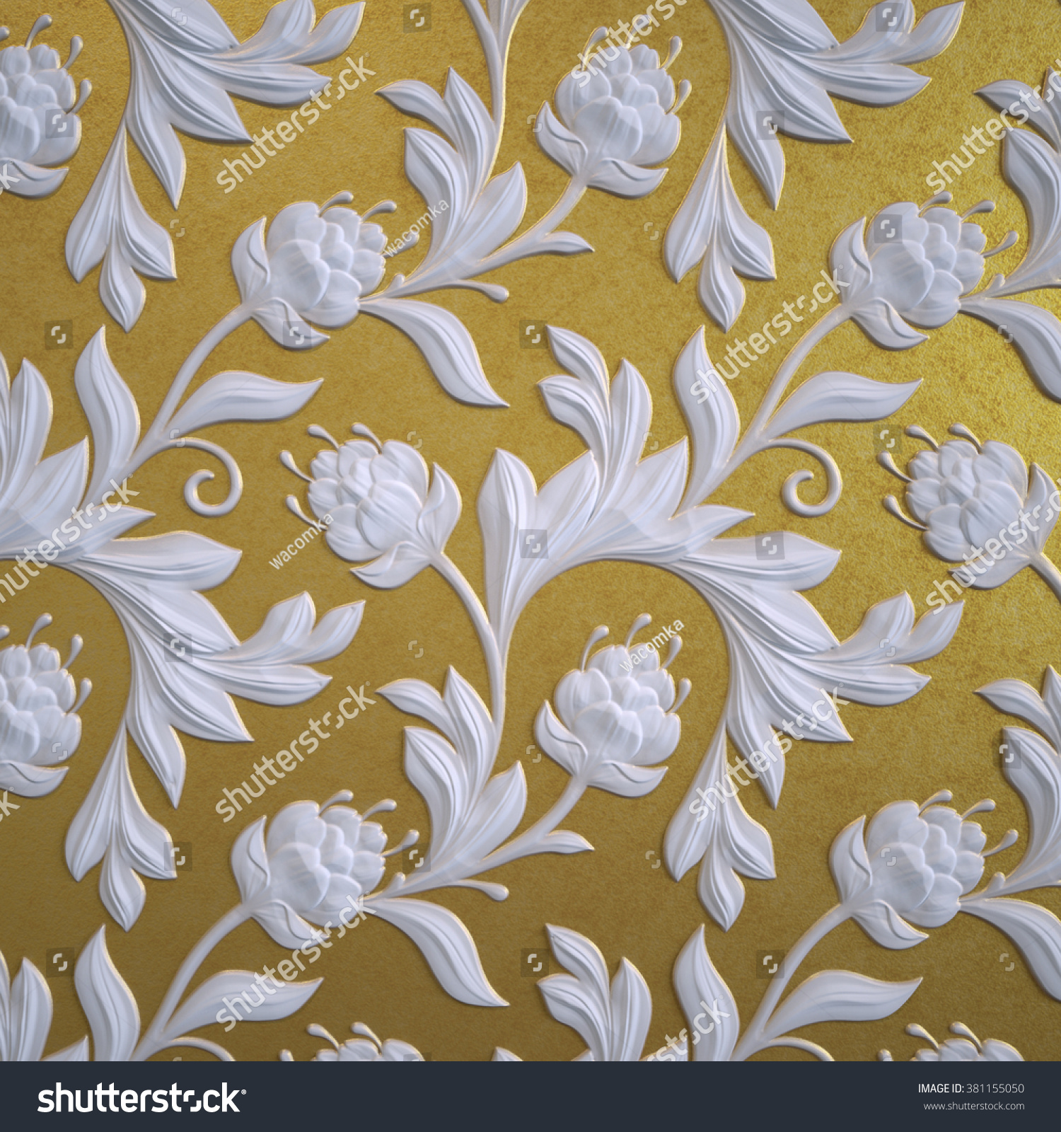 Abstract Gold Floral Wallpaper White Relief Flowers Background