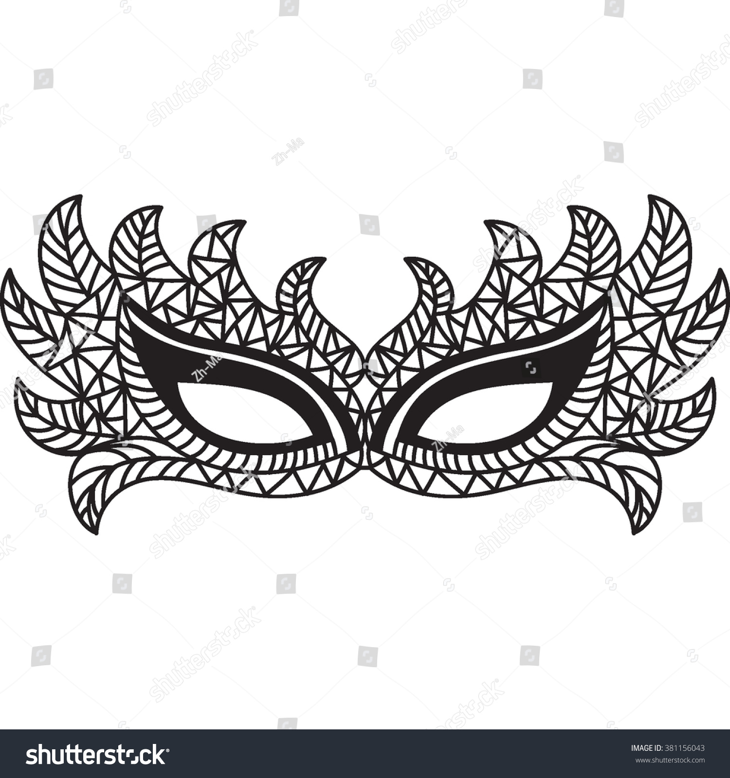 Vector Masquerade Mask Isolated Hand Drawn Illustration