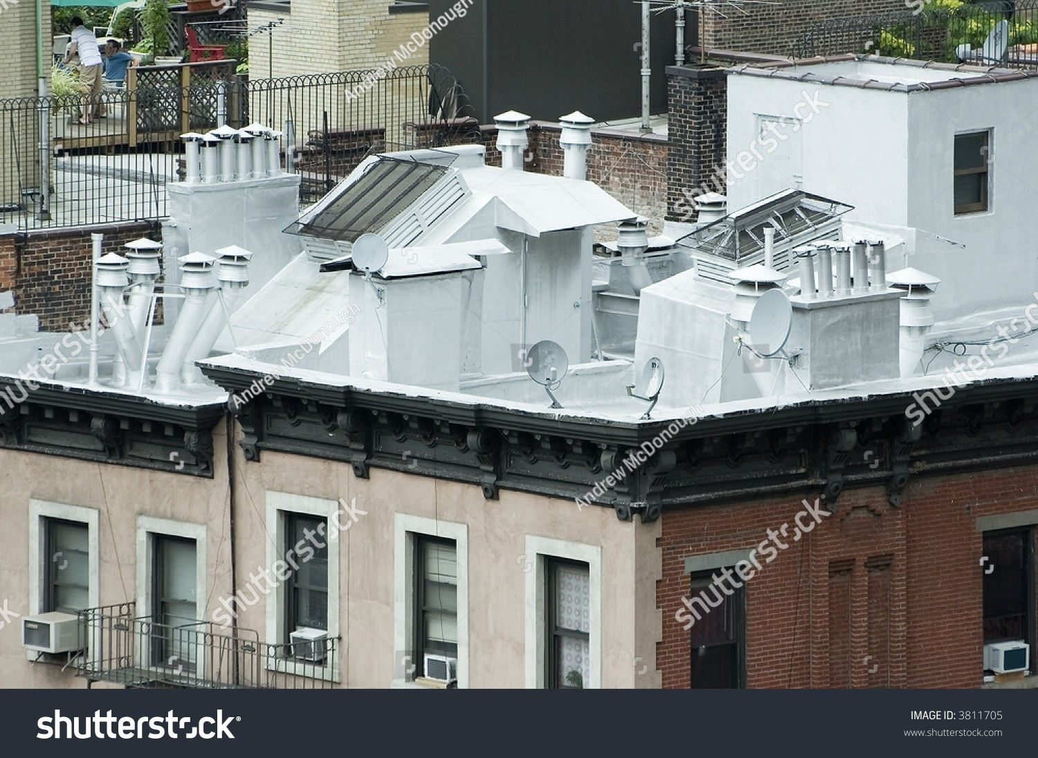 Roof Top Apartment Building New York Stock Photo 3811705
