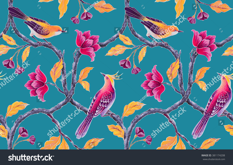Seamless Floral Pattern Spring Flowers Birds Stockillustration