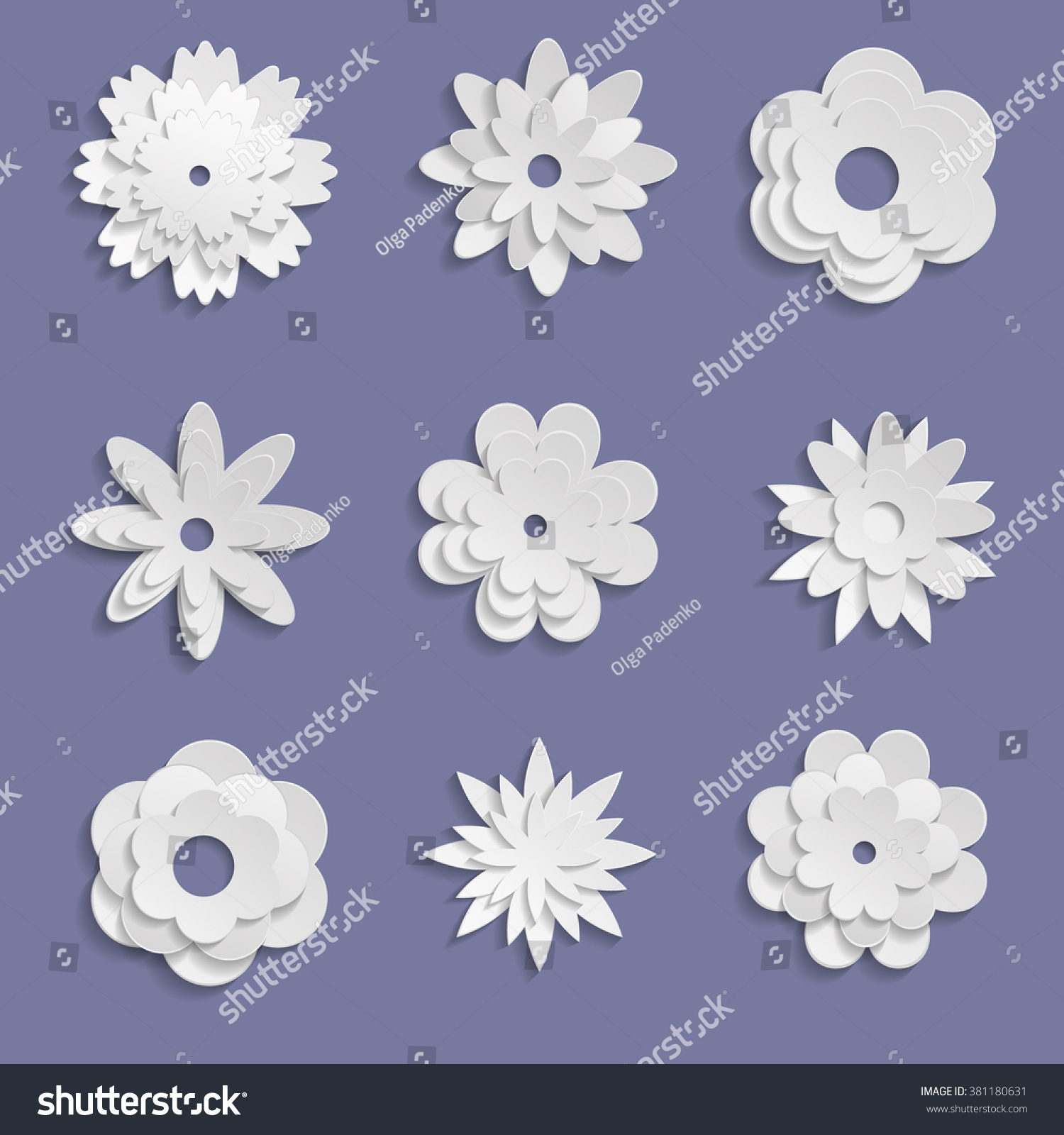 Paper Origami Flowers On Violet Background Stock Vector Royalty