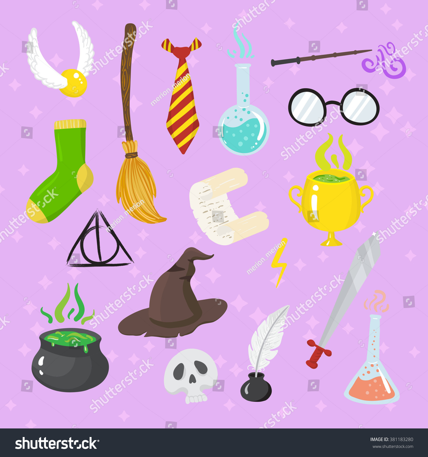 Different magic elements for witches in cartoon style Vector illustration